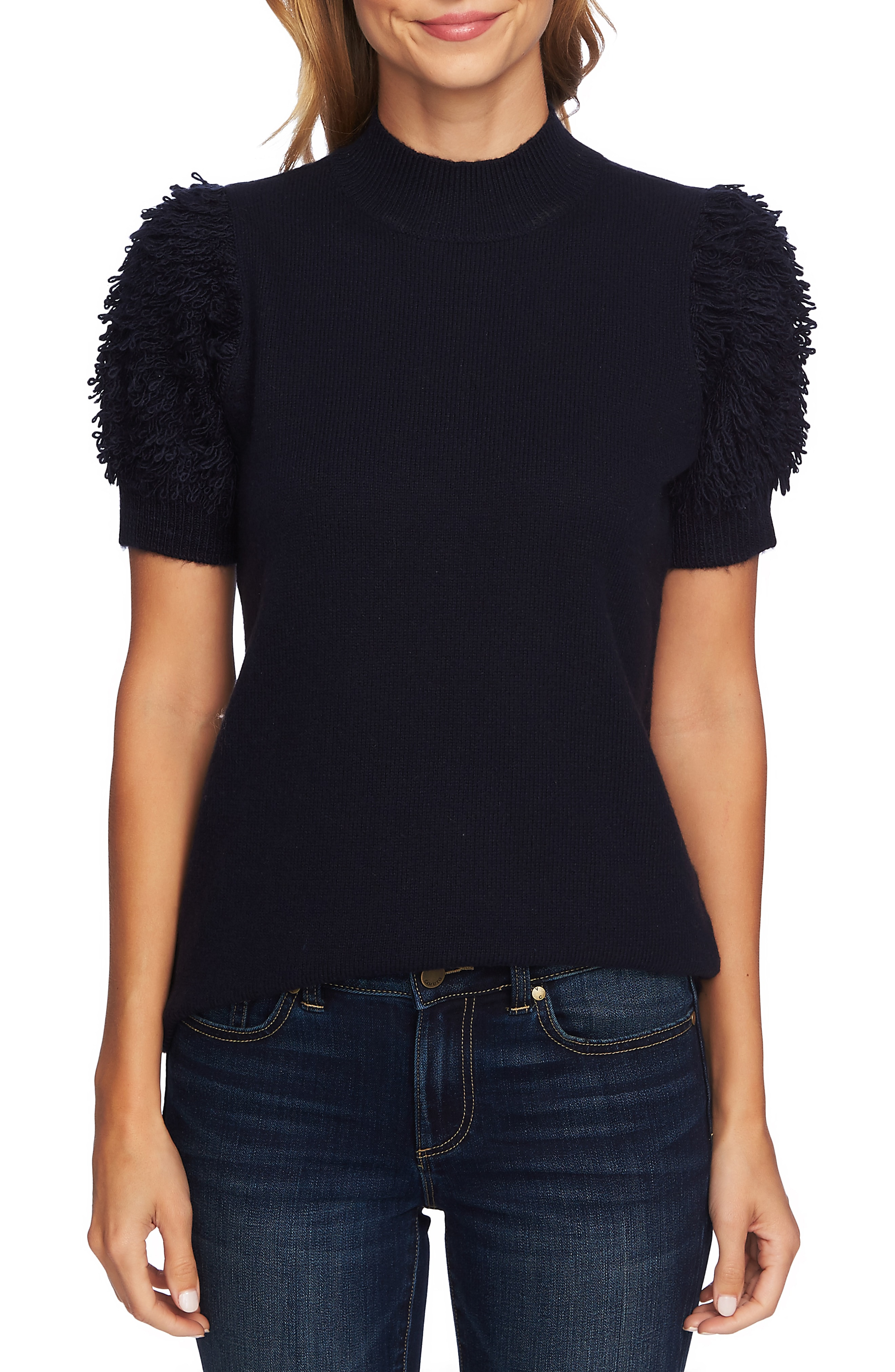 CeCe Poodle Sleeve Mock Neck Sweater