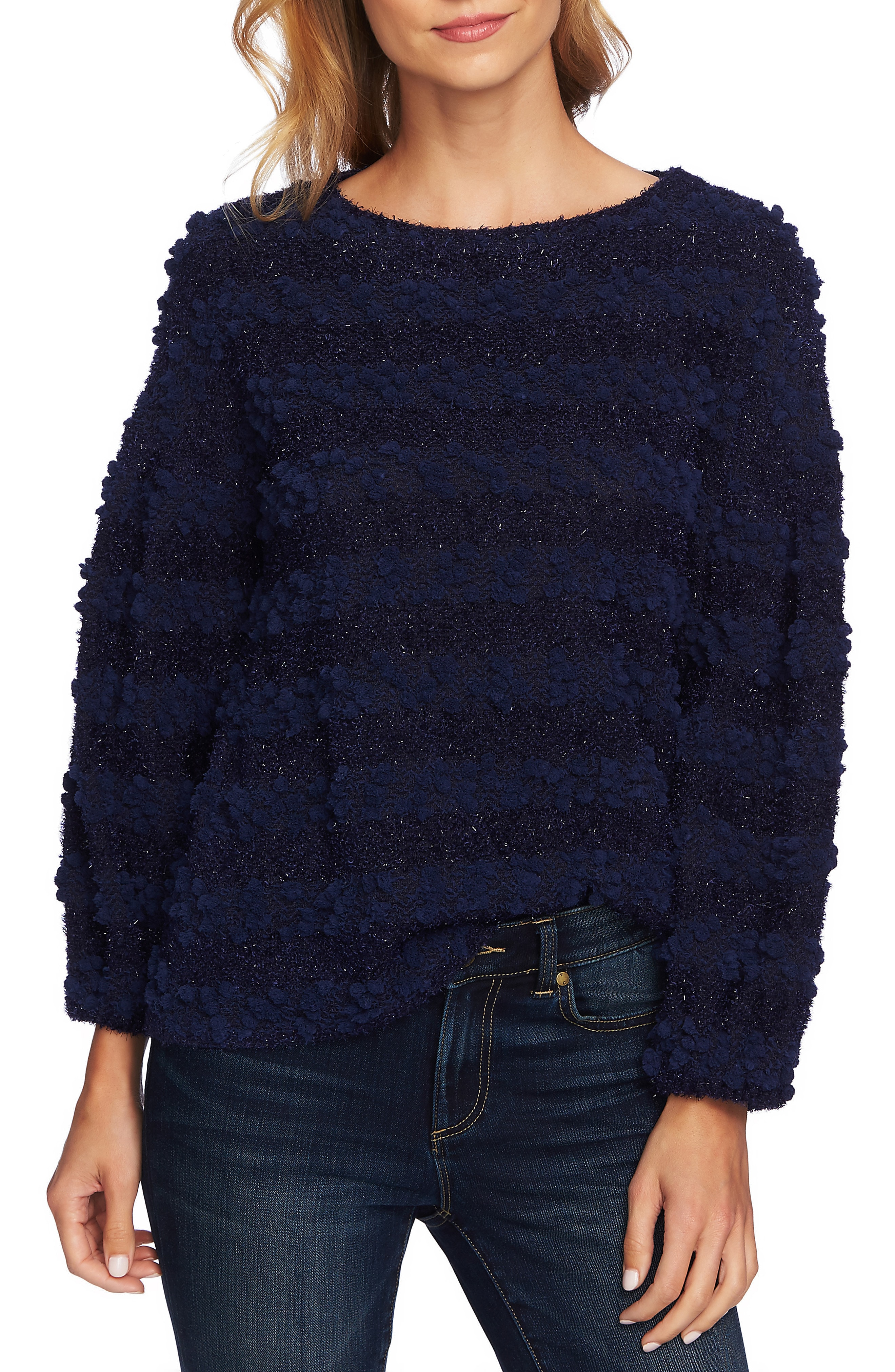 CeCe Puff Sleeve Bobble Knit Top