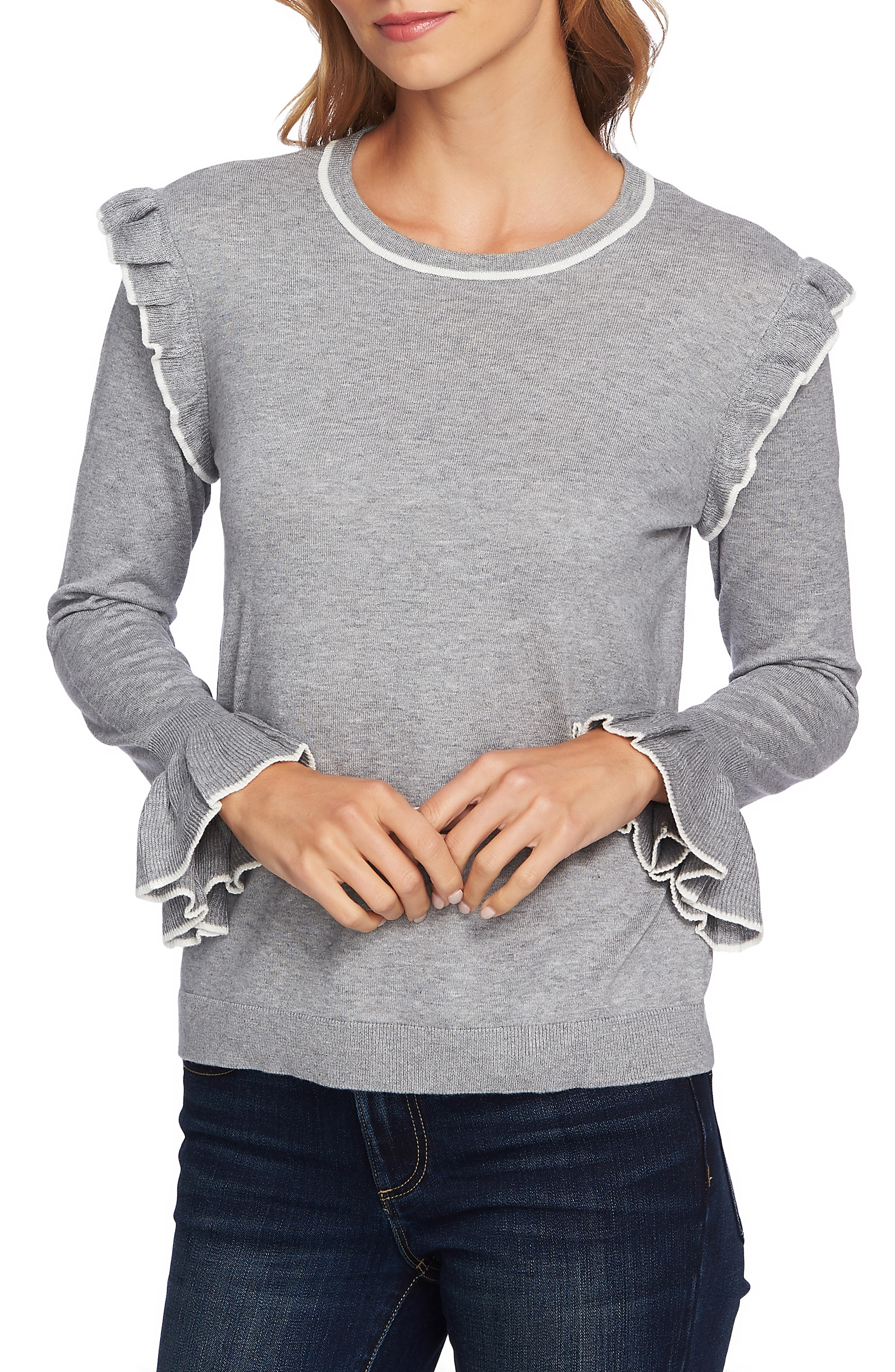 CeCe Ruffle Detail Cotton Blend Sweater