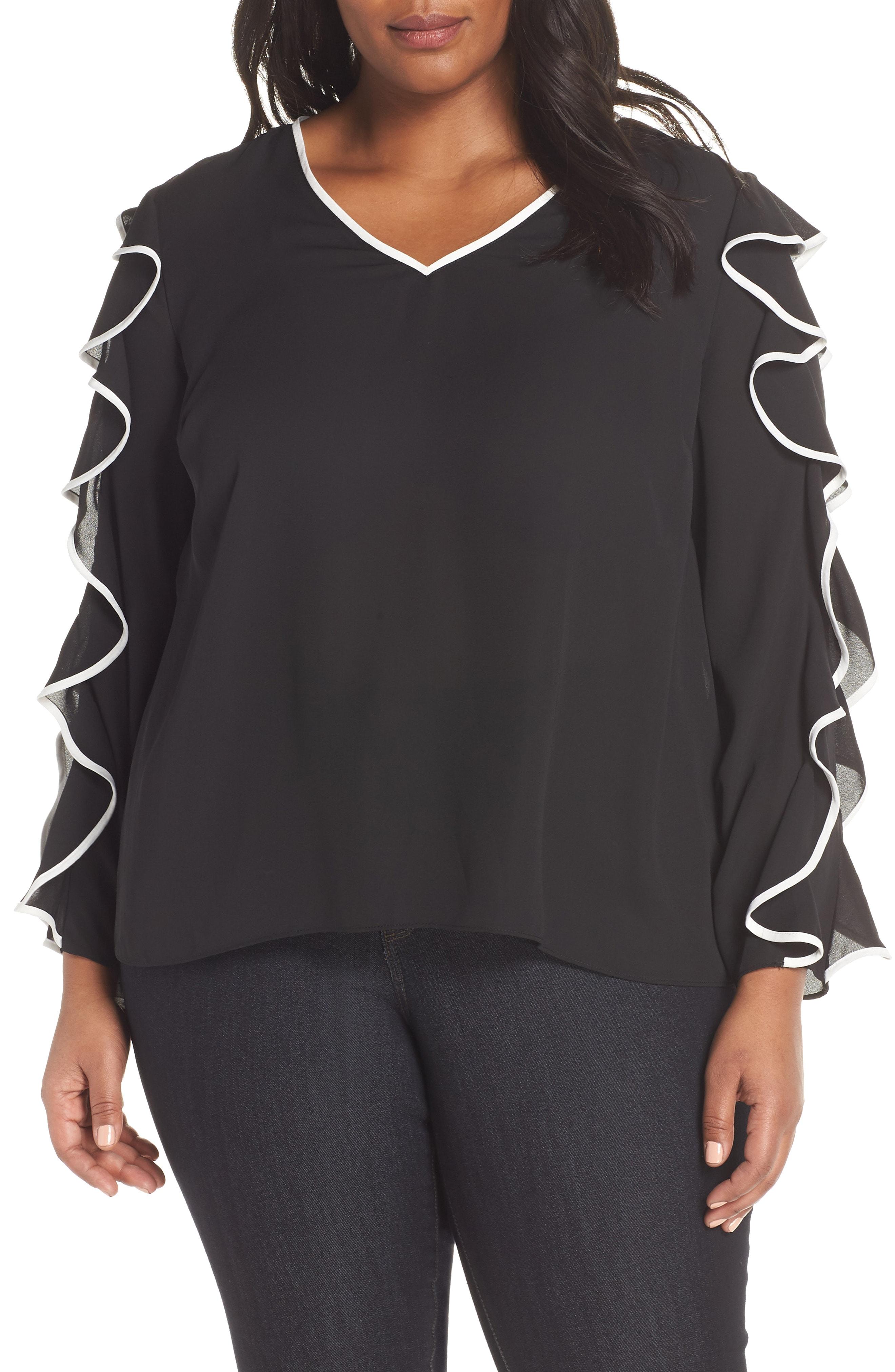 CeCe Ruffle Sleeve Top (Plus Size)