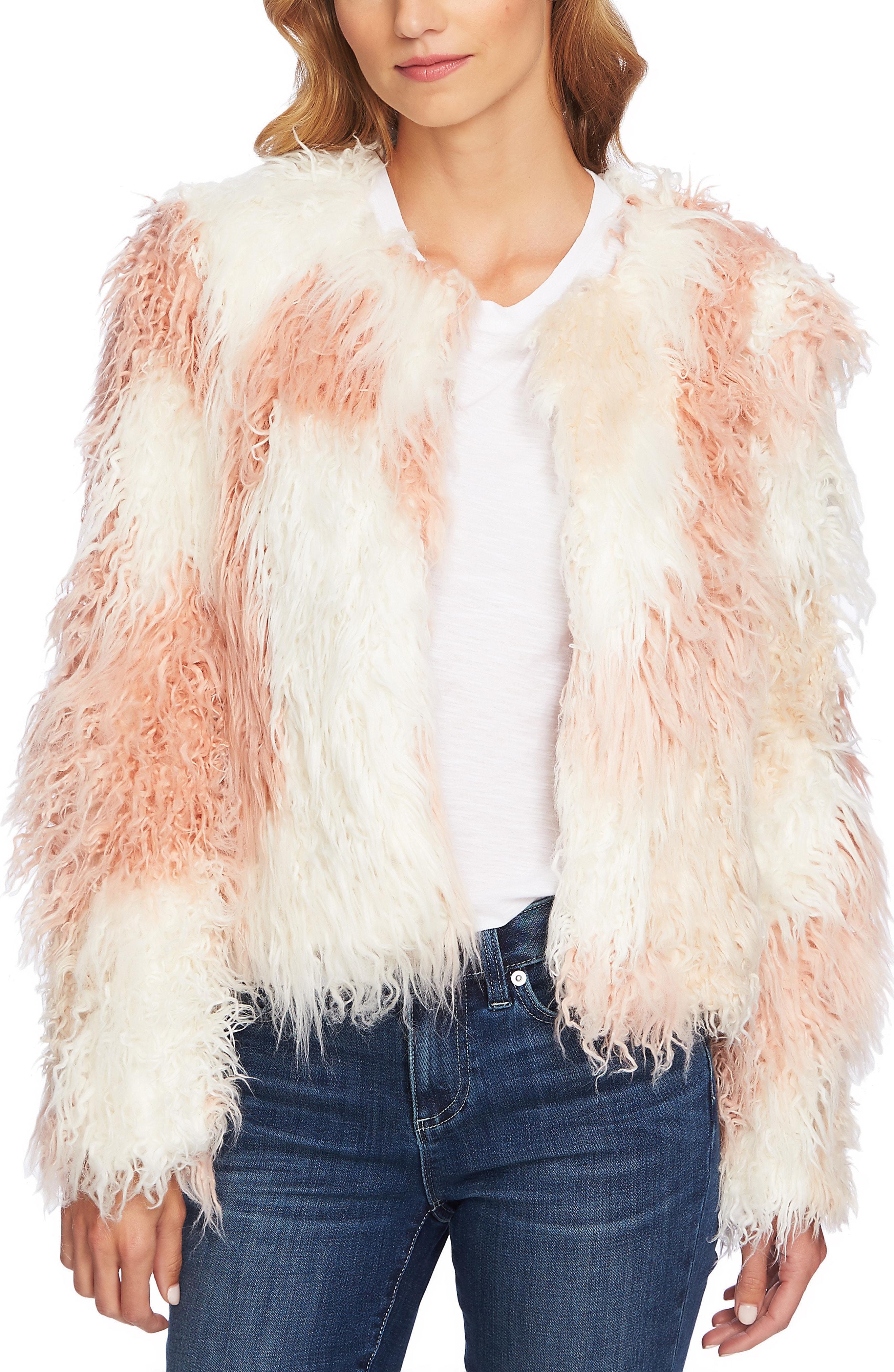 CeCe Shaggy Patchwork Faux Fur Jacket