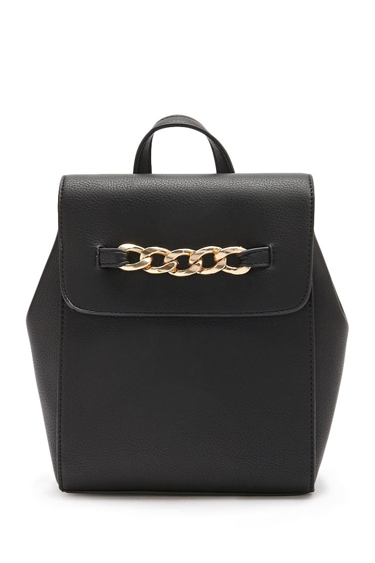 F21 Chain-Accent Flap Backpack