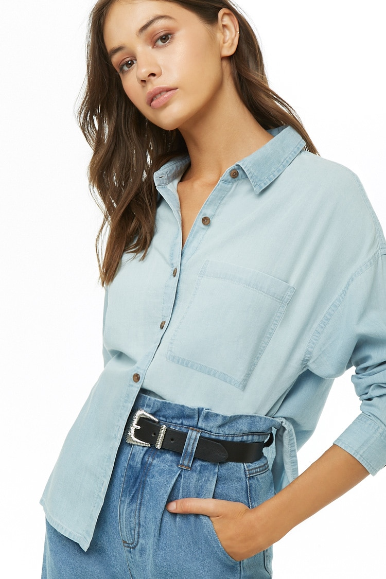 F21 Chambray Button-Front Shirt