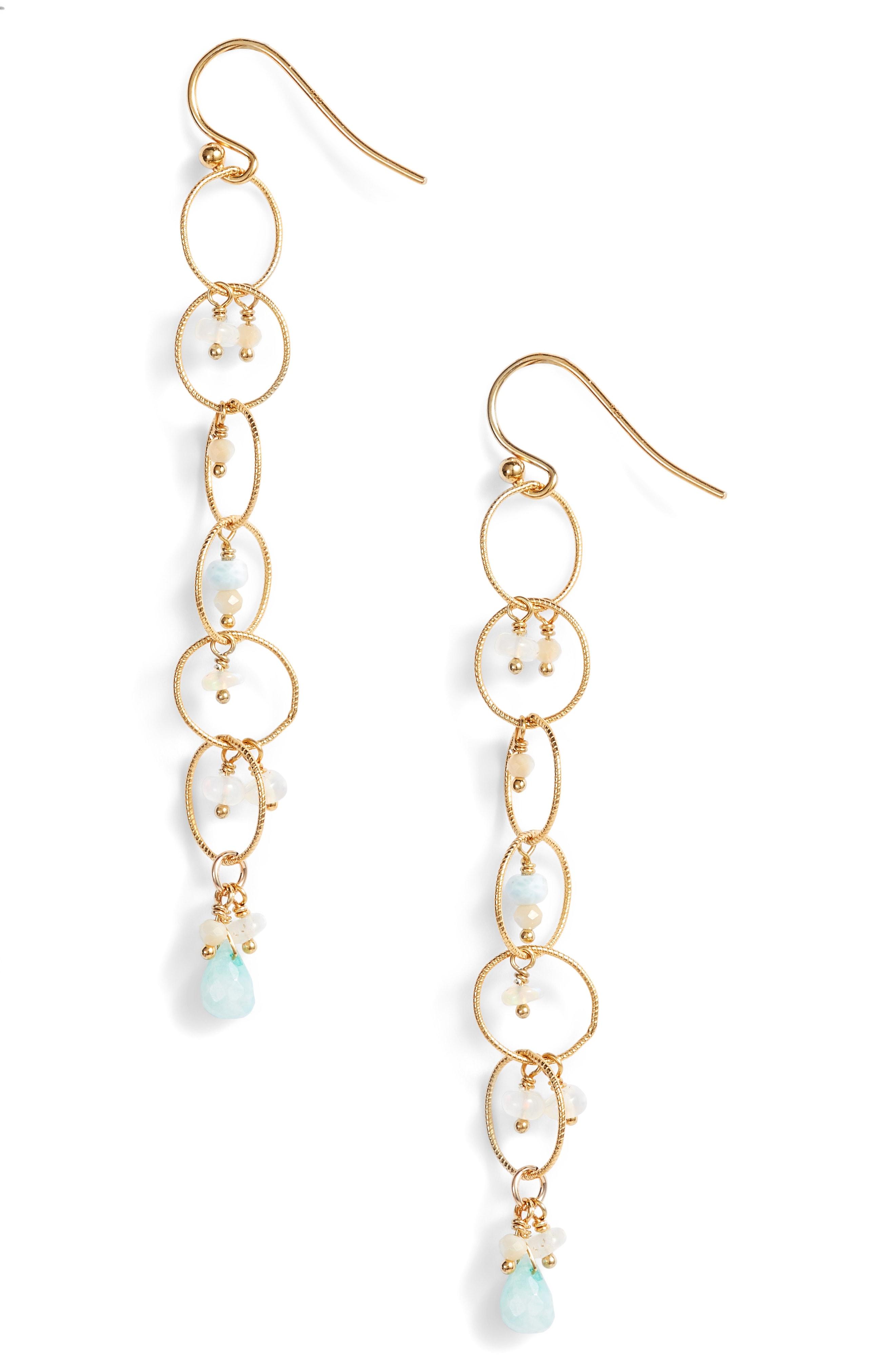 Chan Luu Chain Hoop Drop Earrings with Pearls