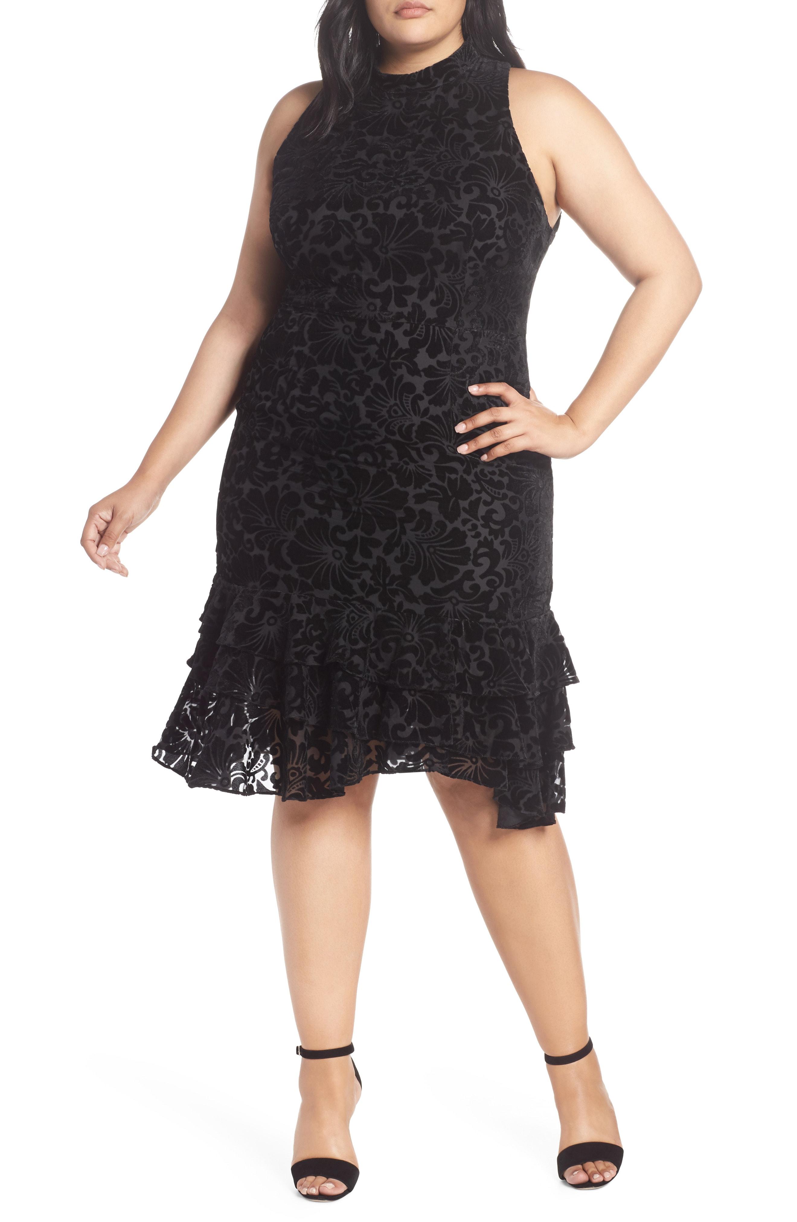 Chelsea28 Burnout Velvet Sheath Dress (Plus Size)