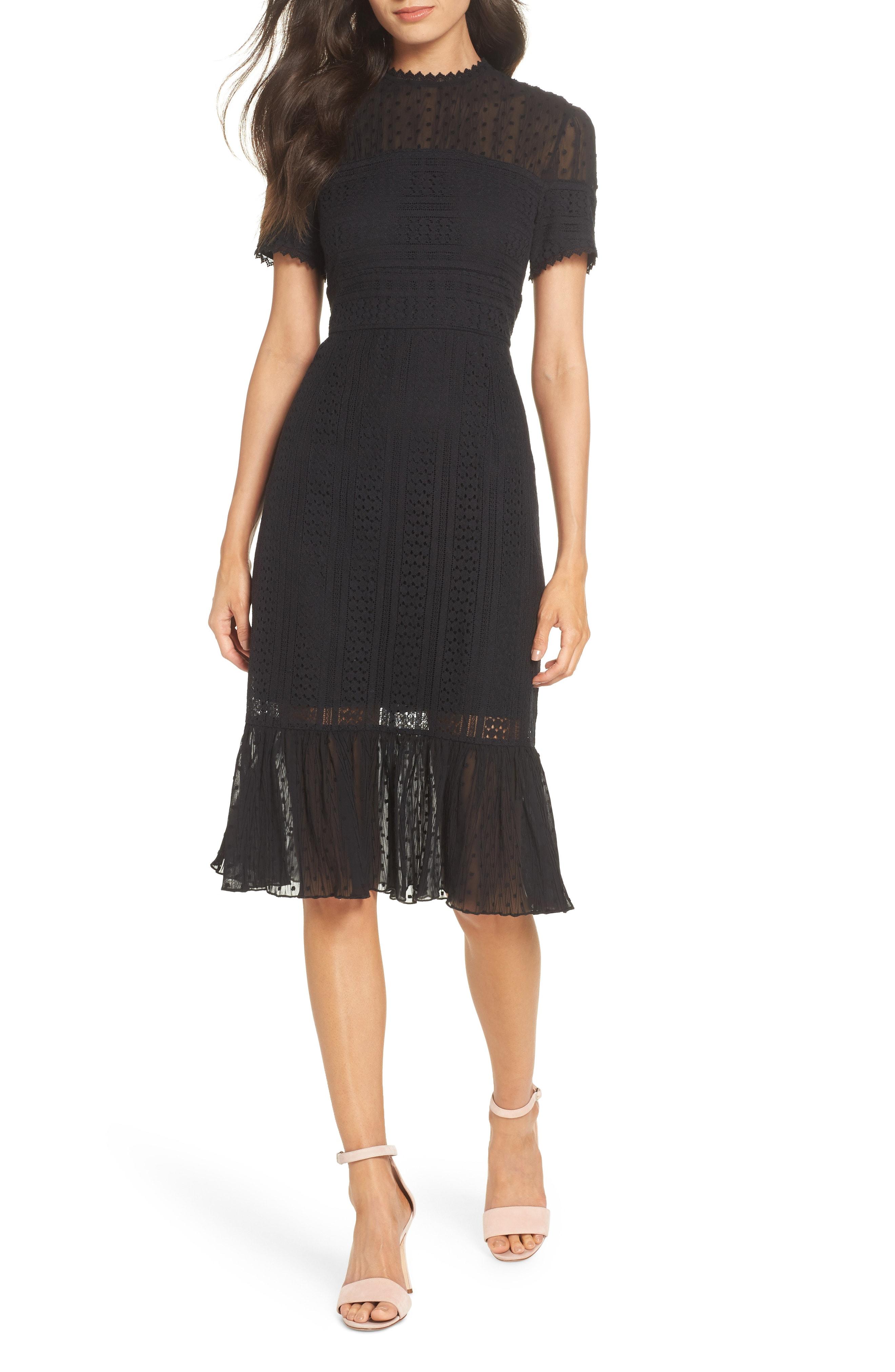 Chelsea28 Lace & Swiss Dot Dress
