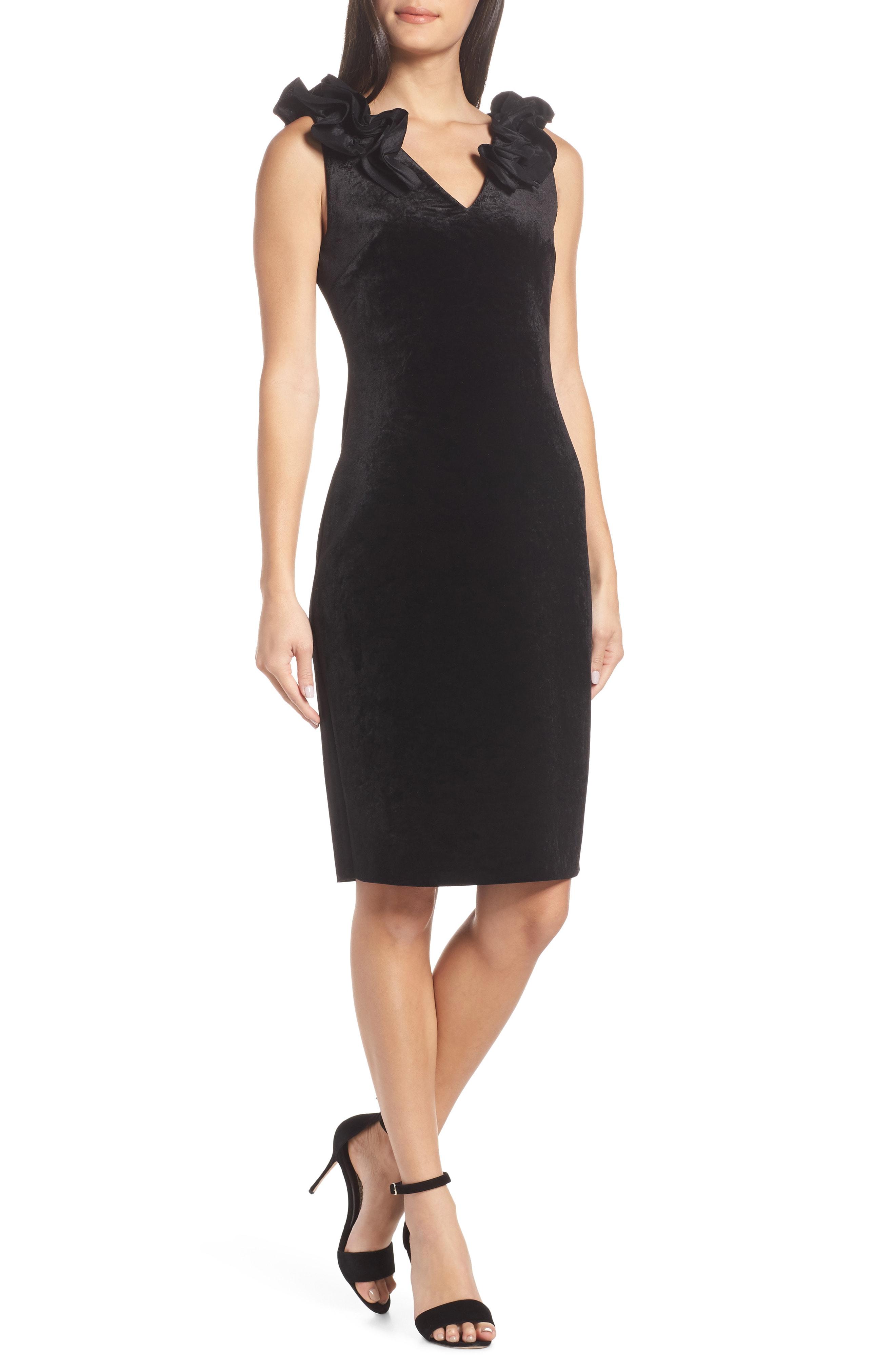 Chelsea28 Ruffle Velvet Sheath Dress (Regular & Petite)