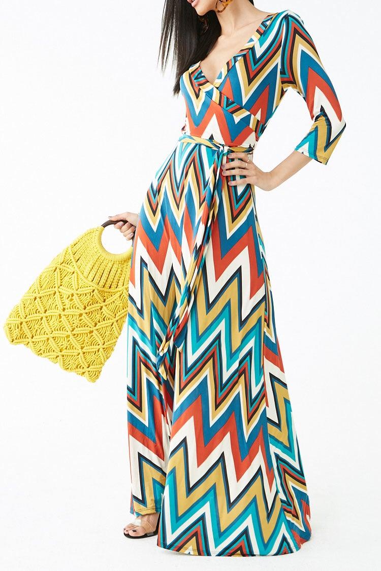 F21 Chevron Print Maxi Dress