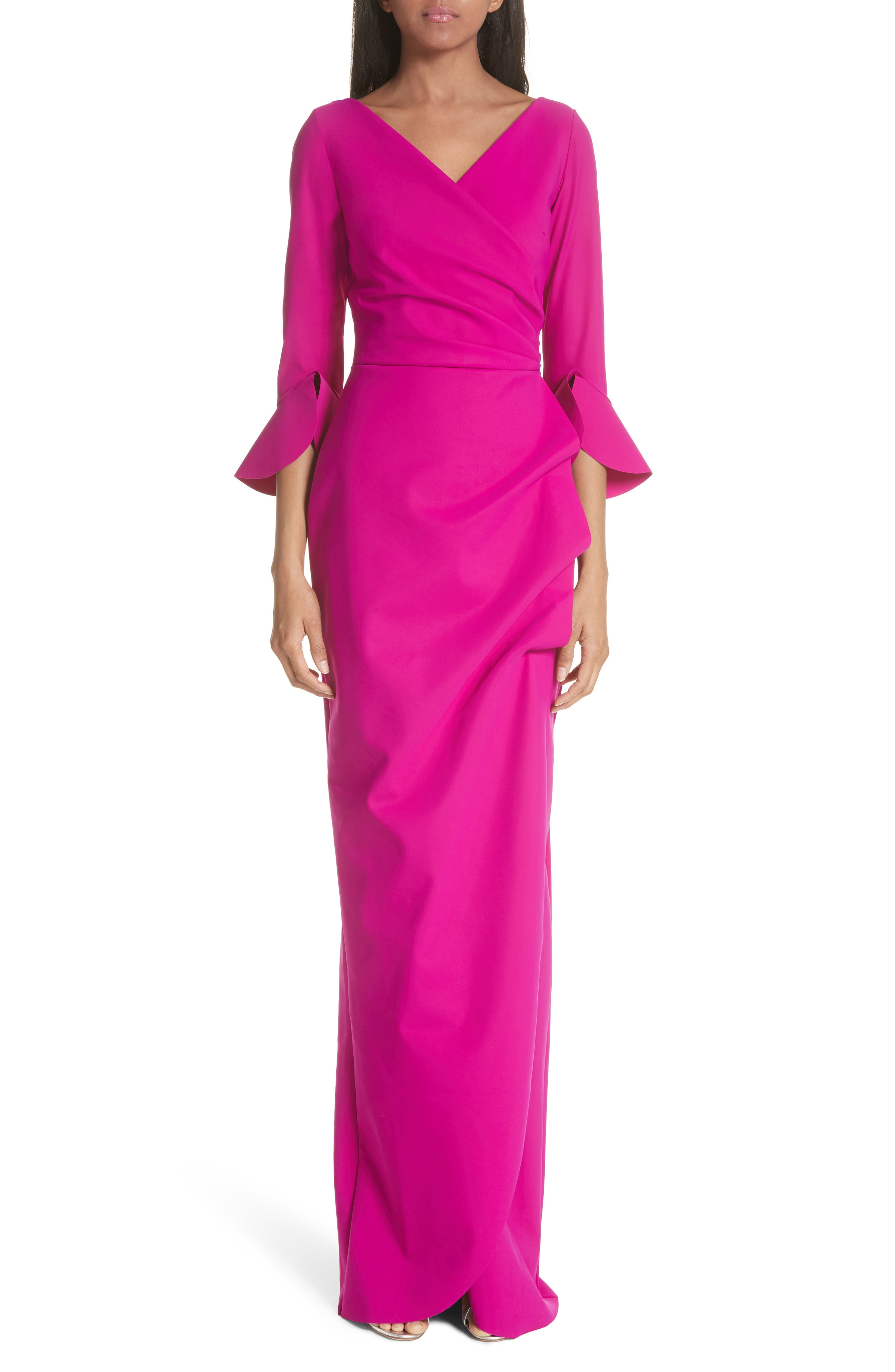 Chiara Boni La Petite Robe Ruffle Cuff Side Drape Gown