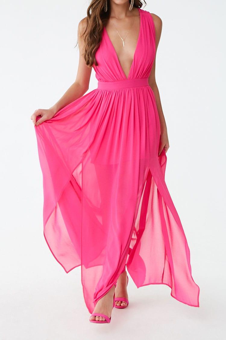 F21 Chiffon M-Slit Gown
