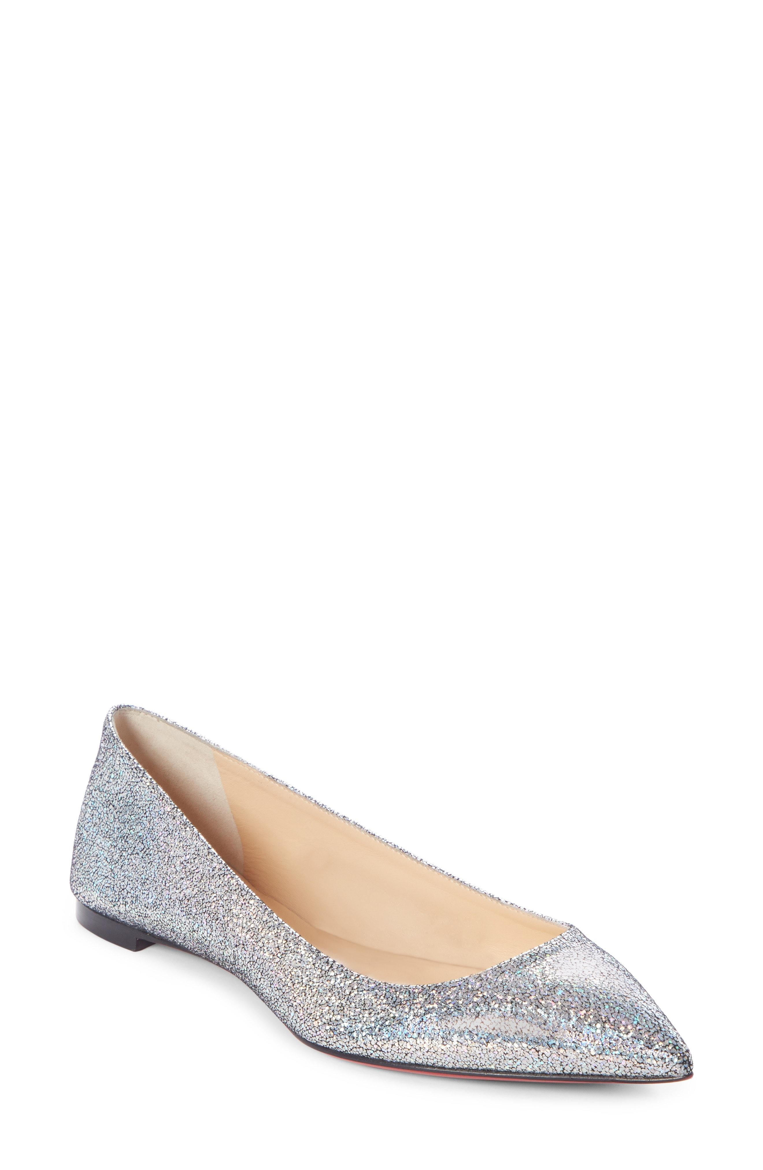 Christian Louboutin Ballalla Glitter Skimmer Flat (Women)
