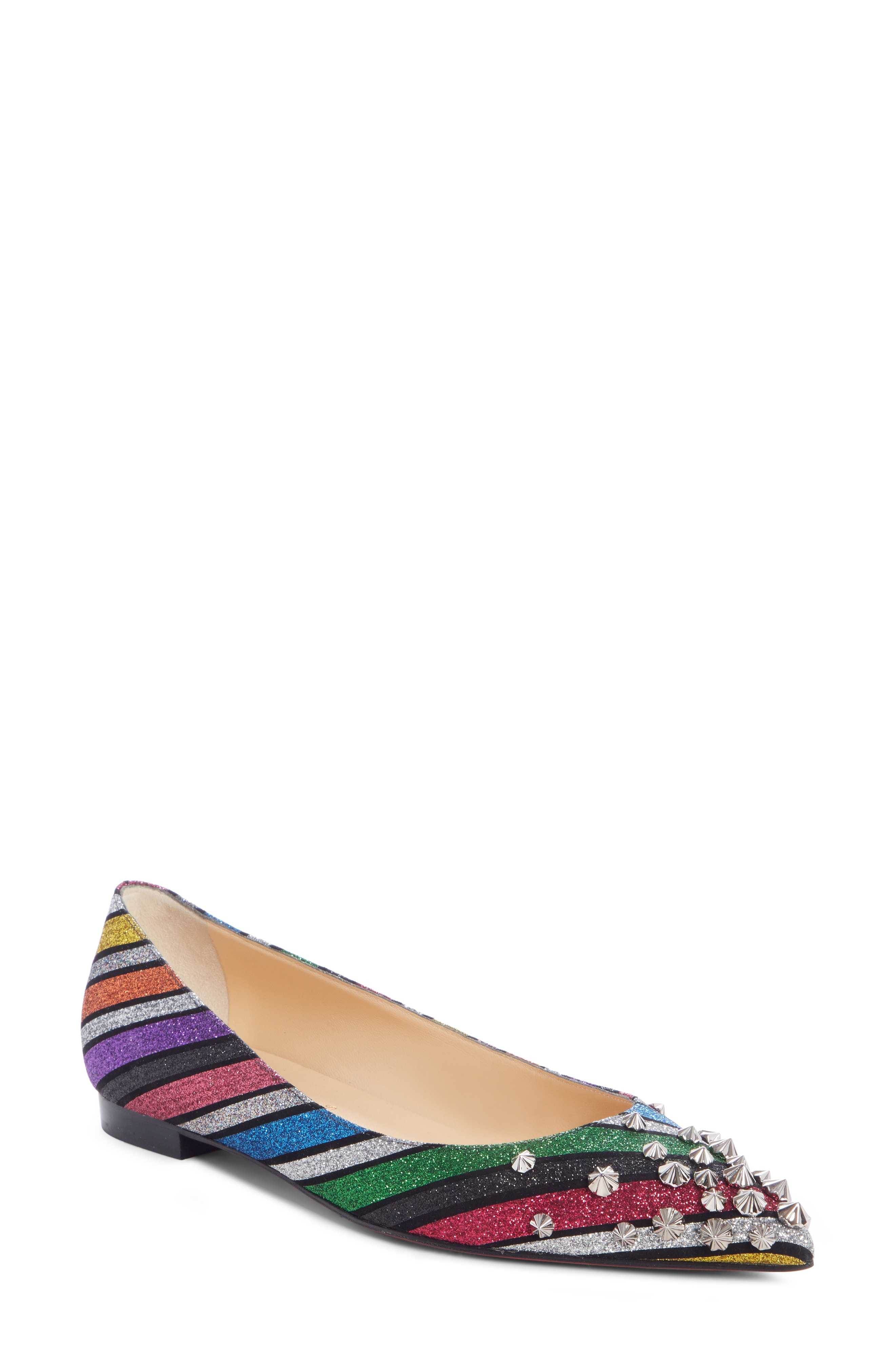 Christian Louboutin Drama Striped Studded Flat (Women)