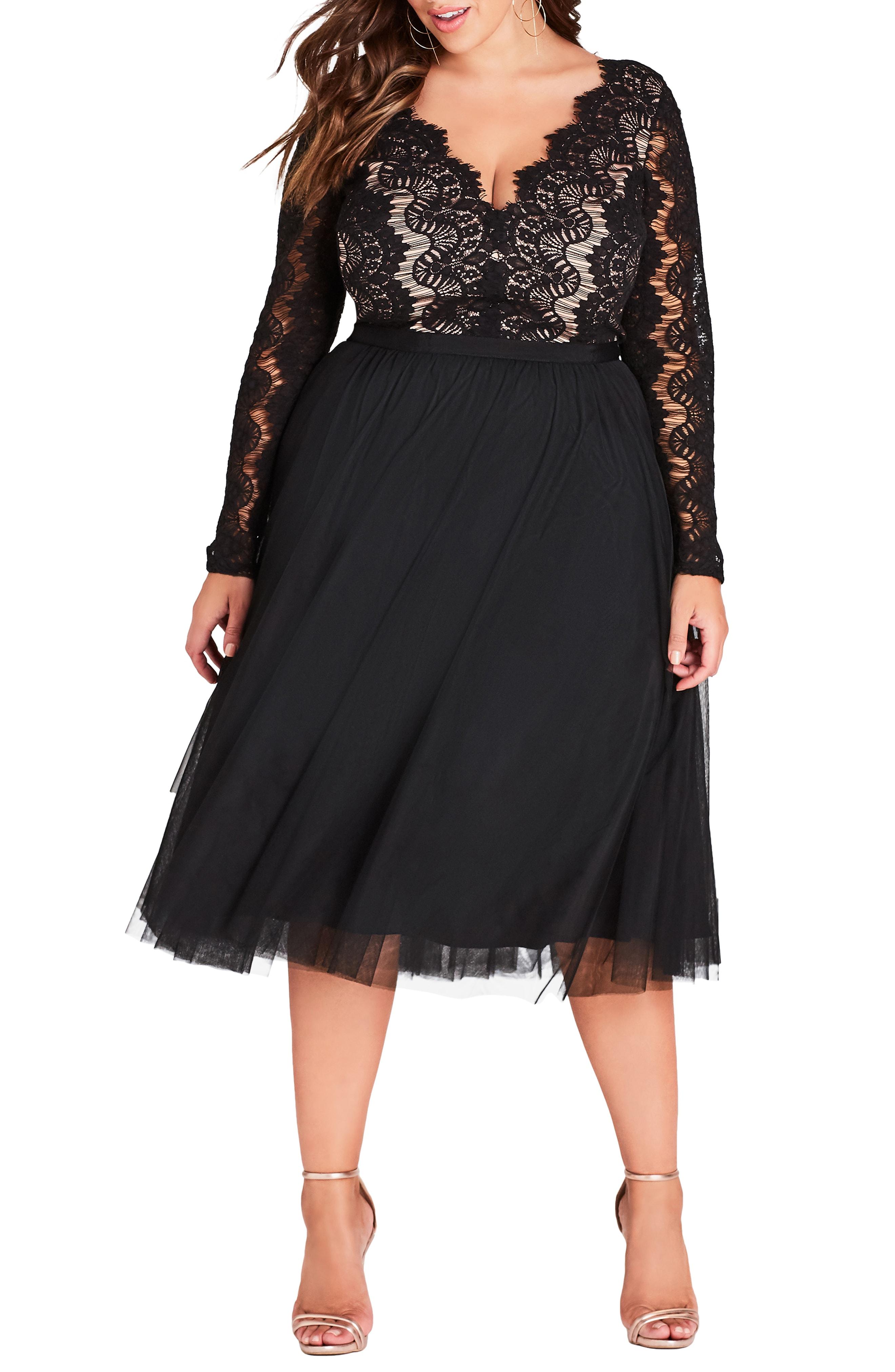City Chic Rare Beauty Lace Fit & Flare Dress (Plus Size)