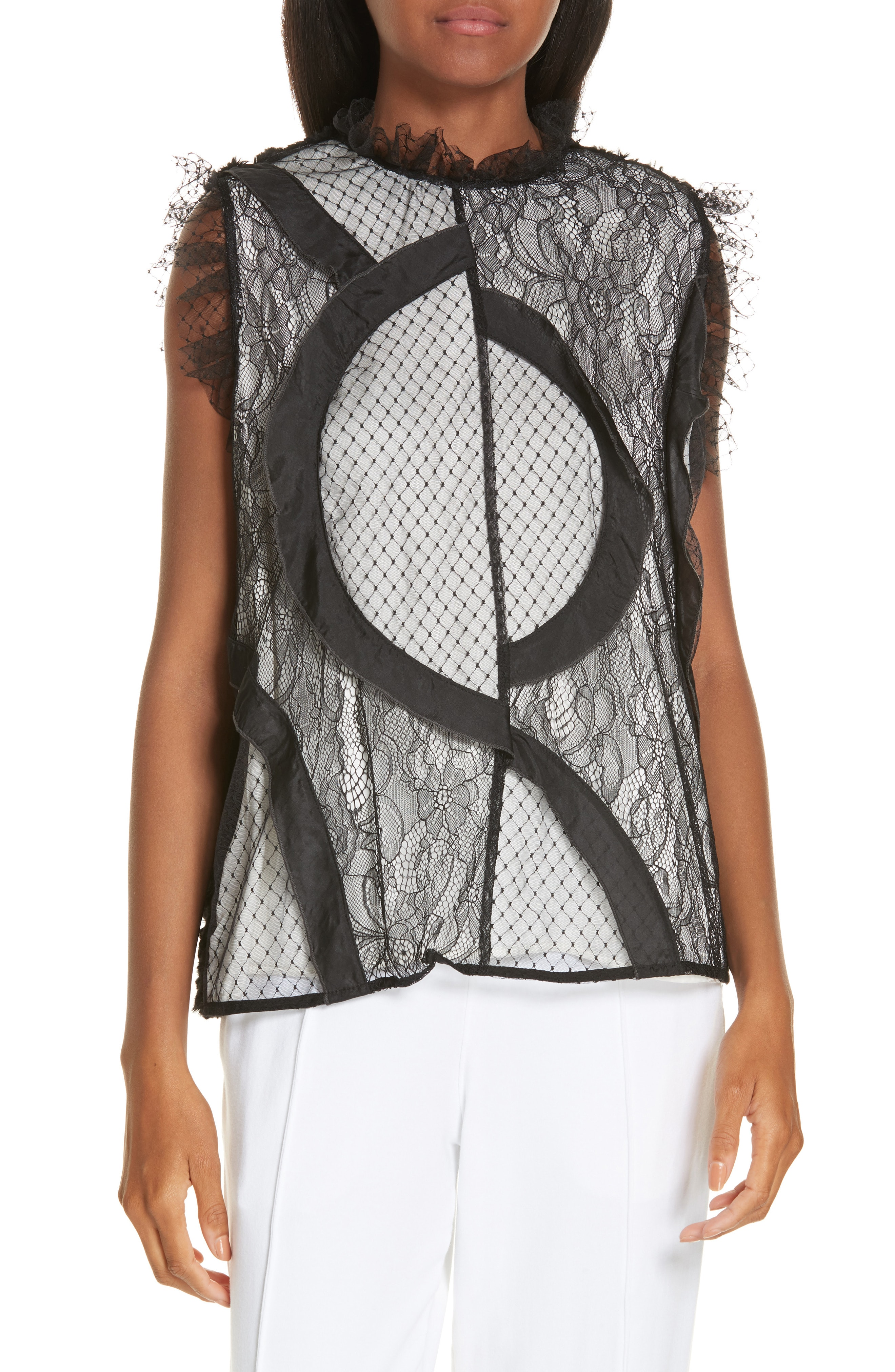 Clu Mix Media Lace and Faux Fur Blouse