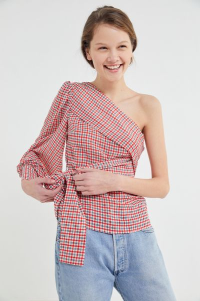C/meo Collective Counting All One-Shoulder Wrap Top