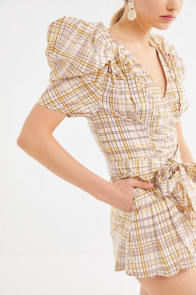 C/meo Collective Vices Plaid Puff Sleeve Romper