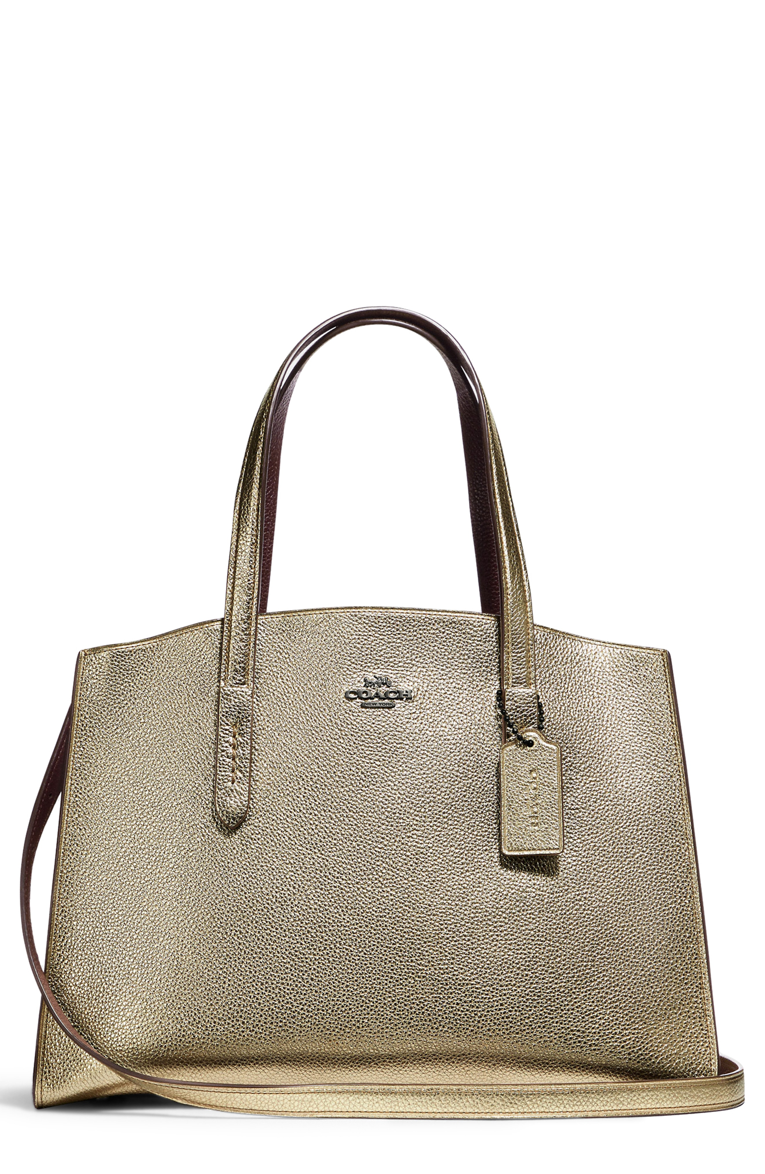 COACH Charlie Metallic Leather Tote
