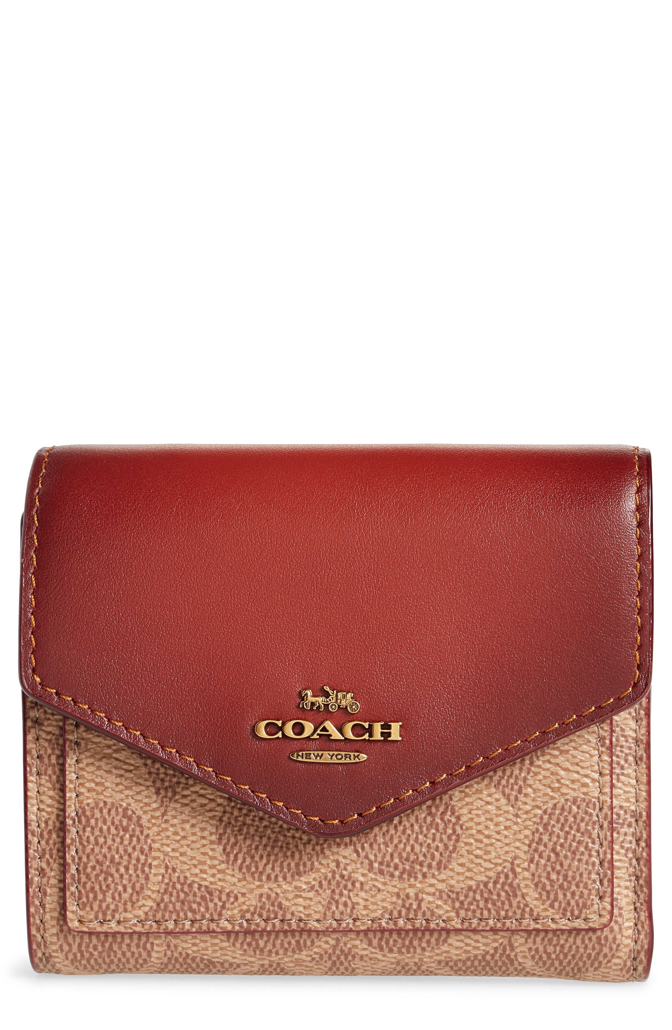 COACH Colorblock Coated Canvas & Leather Flap Wallet