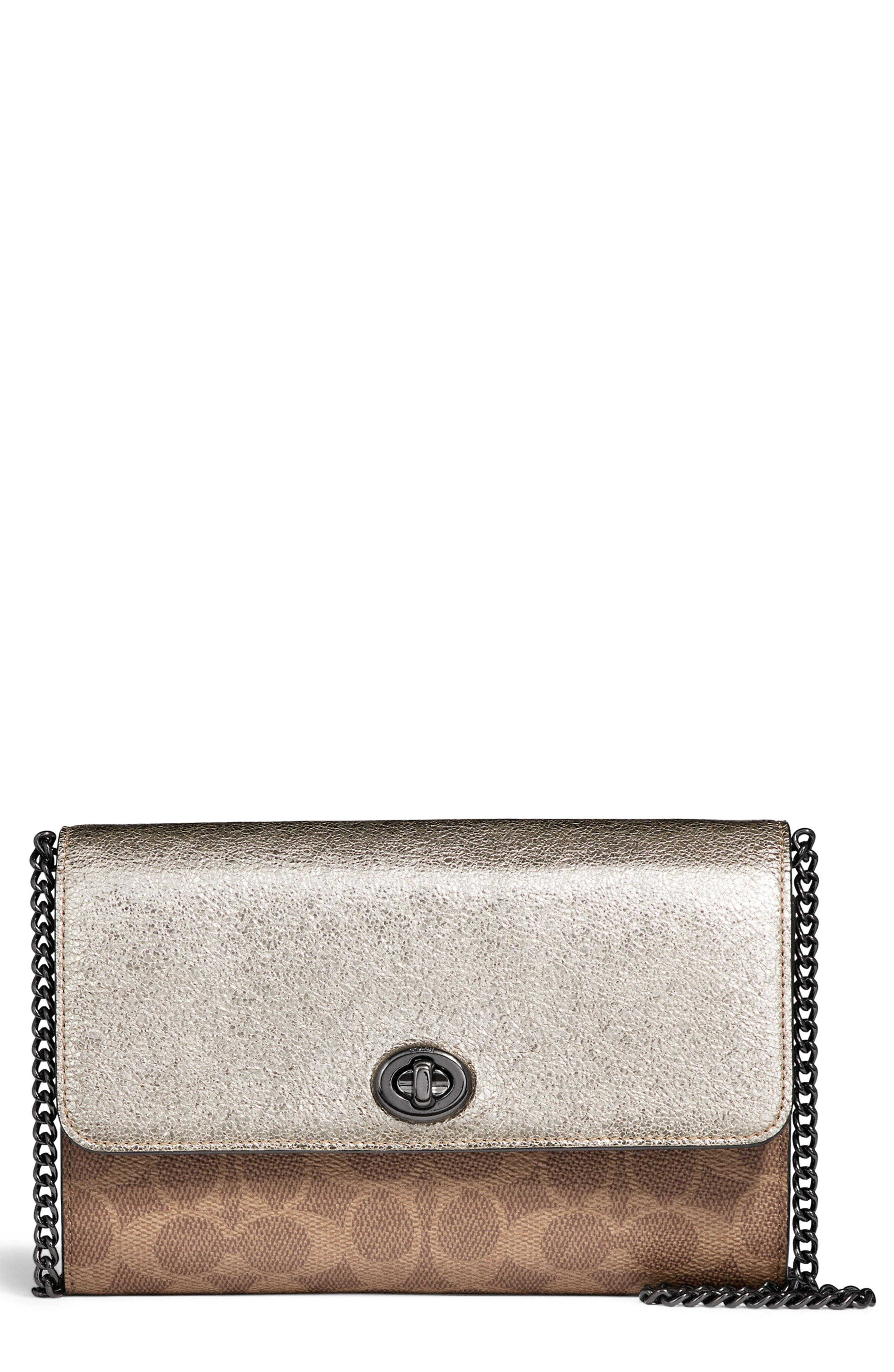 COACH Colorblock Metallic Leather & Coated Canvas Wallet