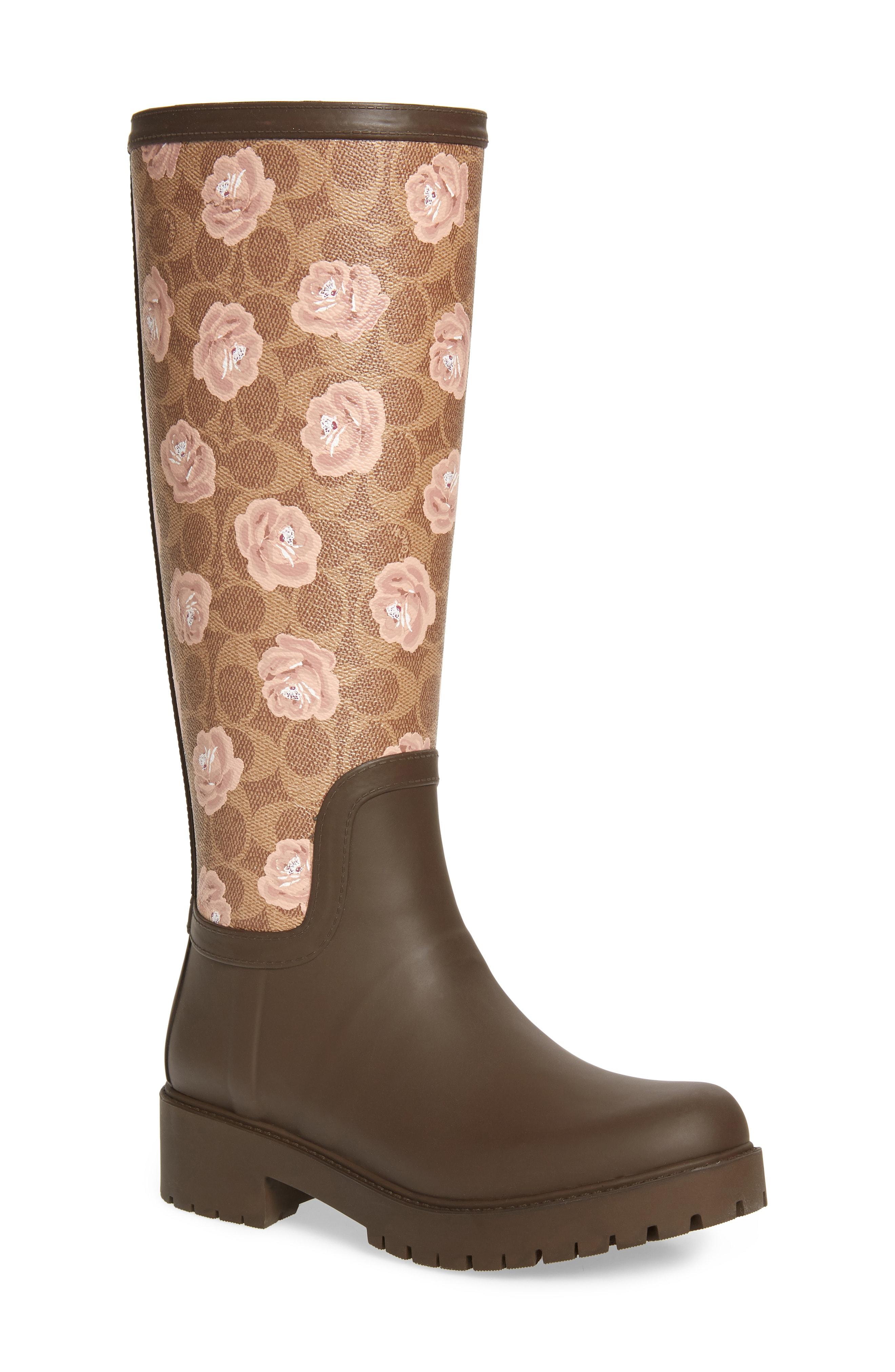 COACH Signature Logo & Floral Knee High Rain Boot (Women)