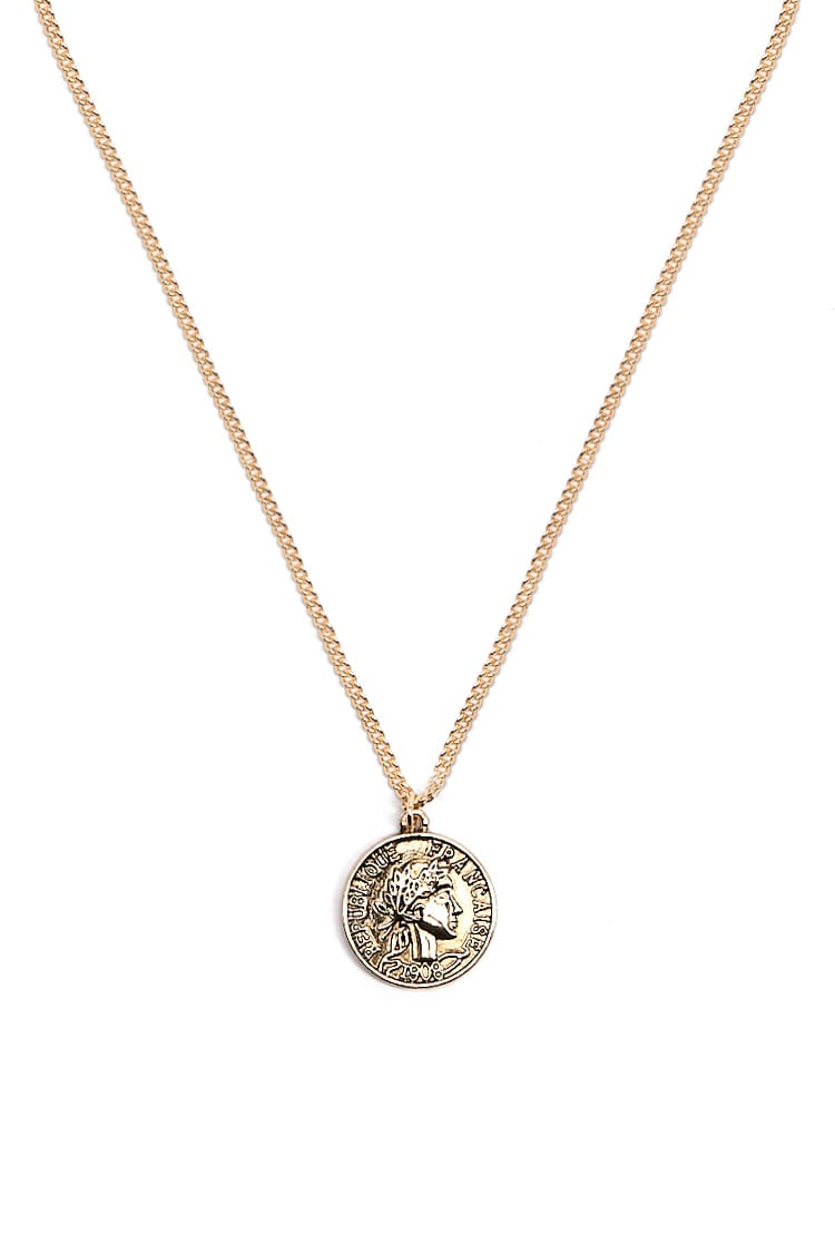 F21 Coin Pendant Necklace