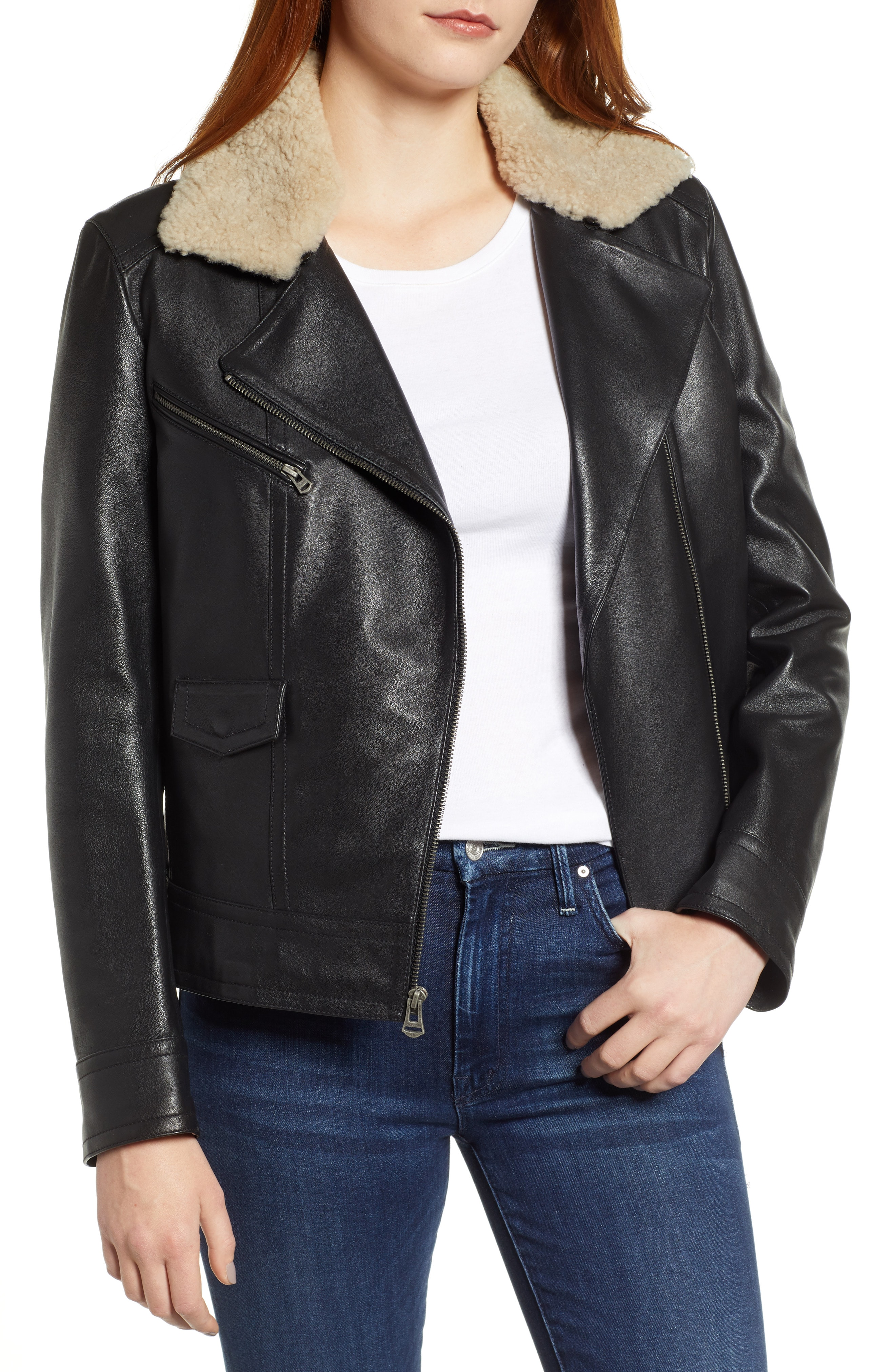 Cole Haan Bonded Leather Moto Jacket with Genuine Shearling Collar