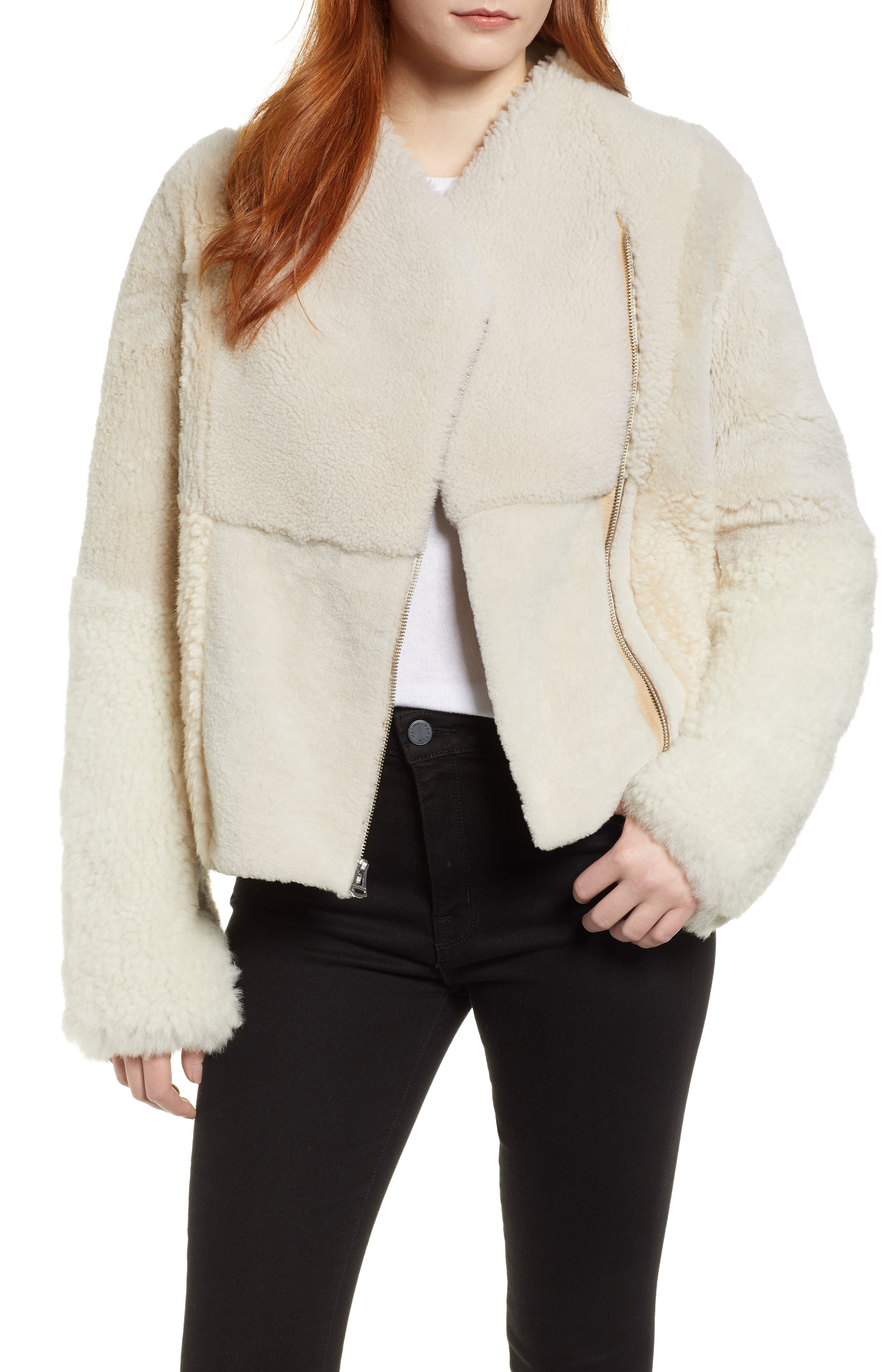 Cole Haan Patchwork Genuine Shearling Jacket