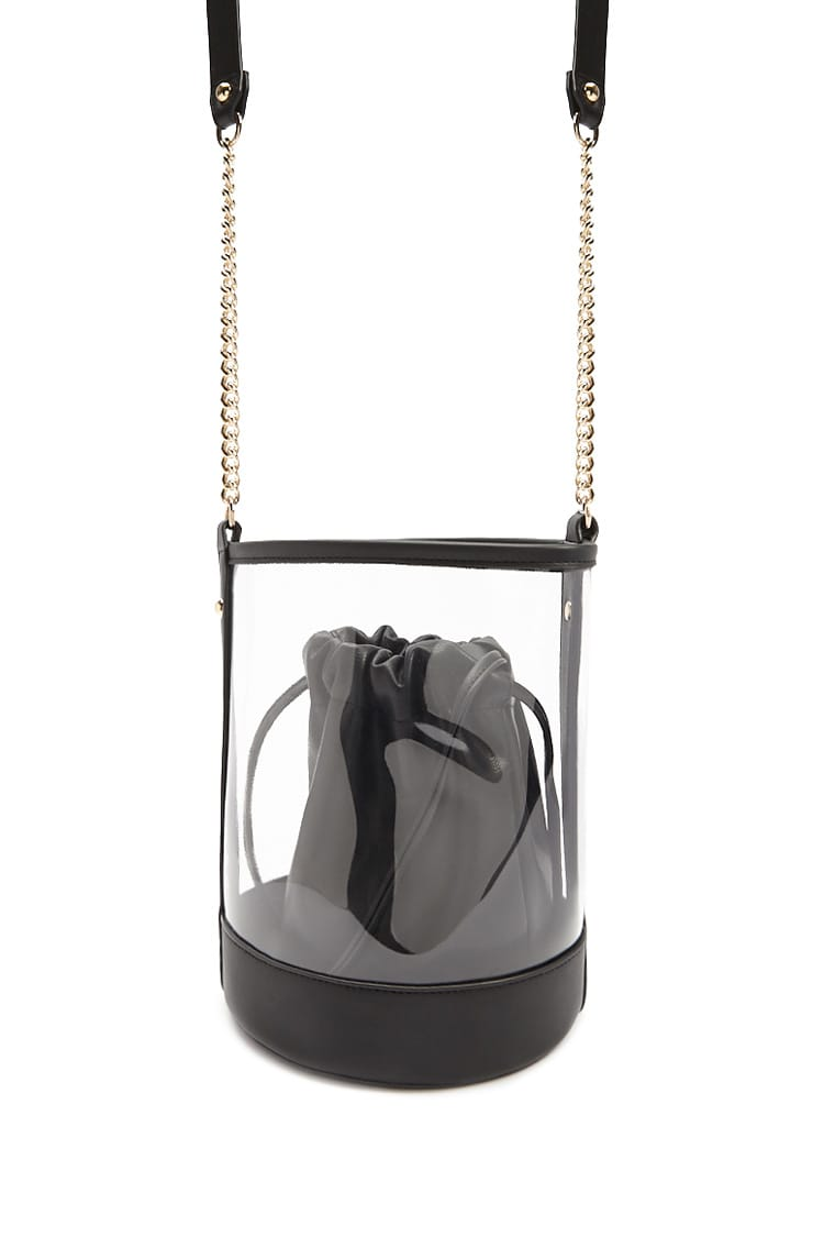 F21 Combo Faux Leather Bucket Bag