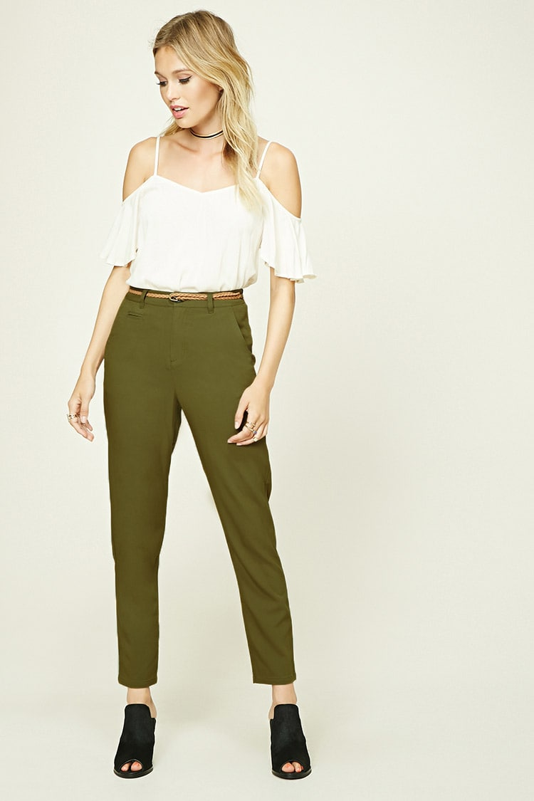 LOVE21 Contemporary Belted Trousers