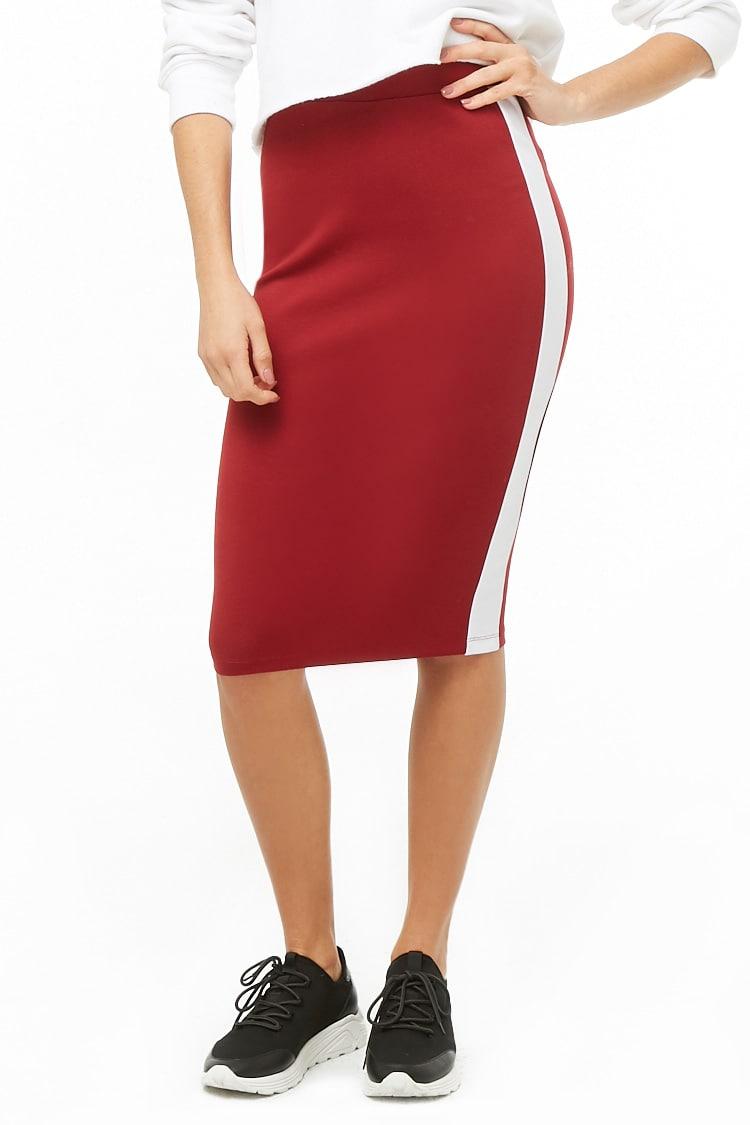 F21 Contrast-Trim Pencil Skirt