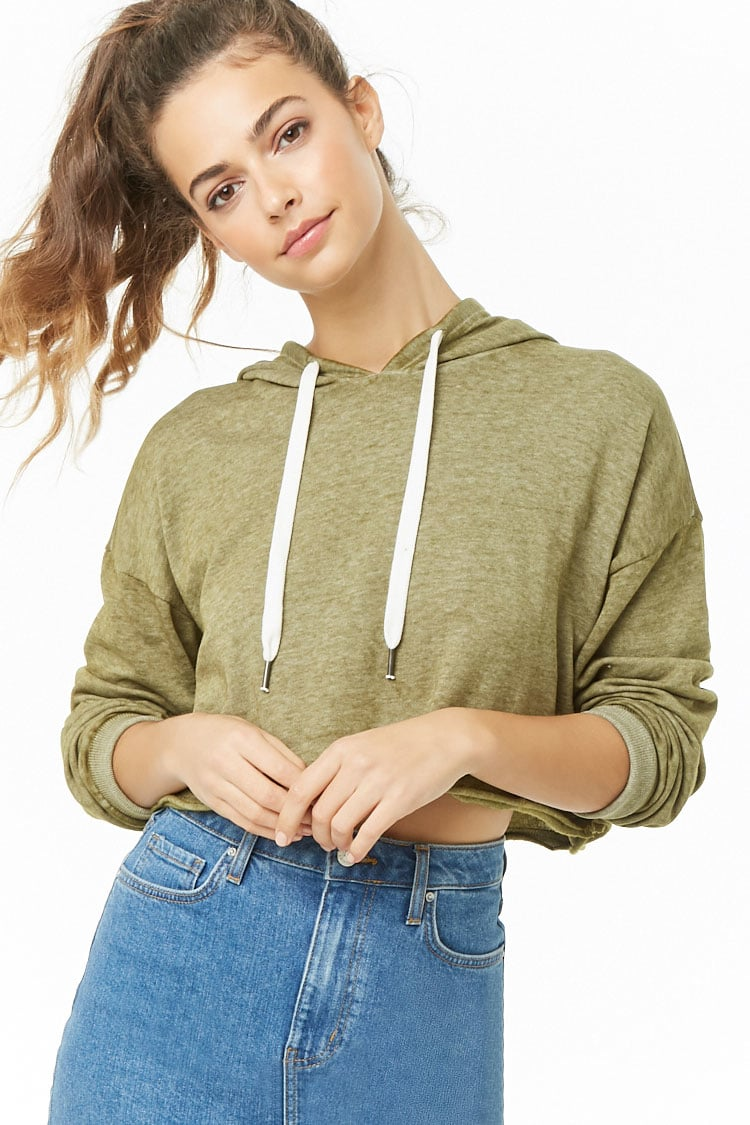 F21 Cropped Oil Wash Hooded Pullover