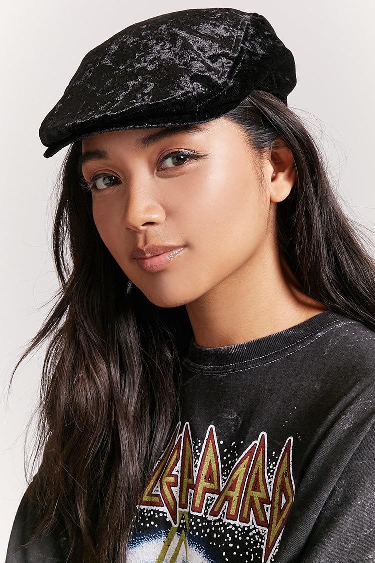 F21 Crushed Velvet Cabby Hat