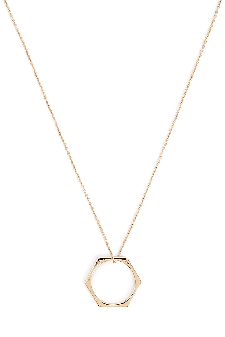 F21 Cutout Hexagon Pendant Necklace