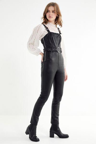 Dahli Tatum Belted Faux Leather Jumpsuit