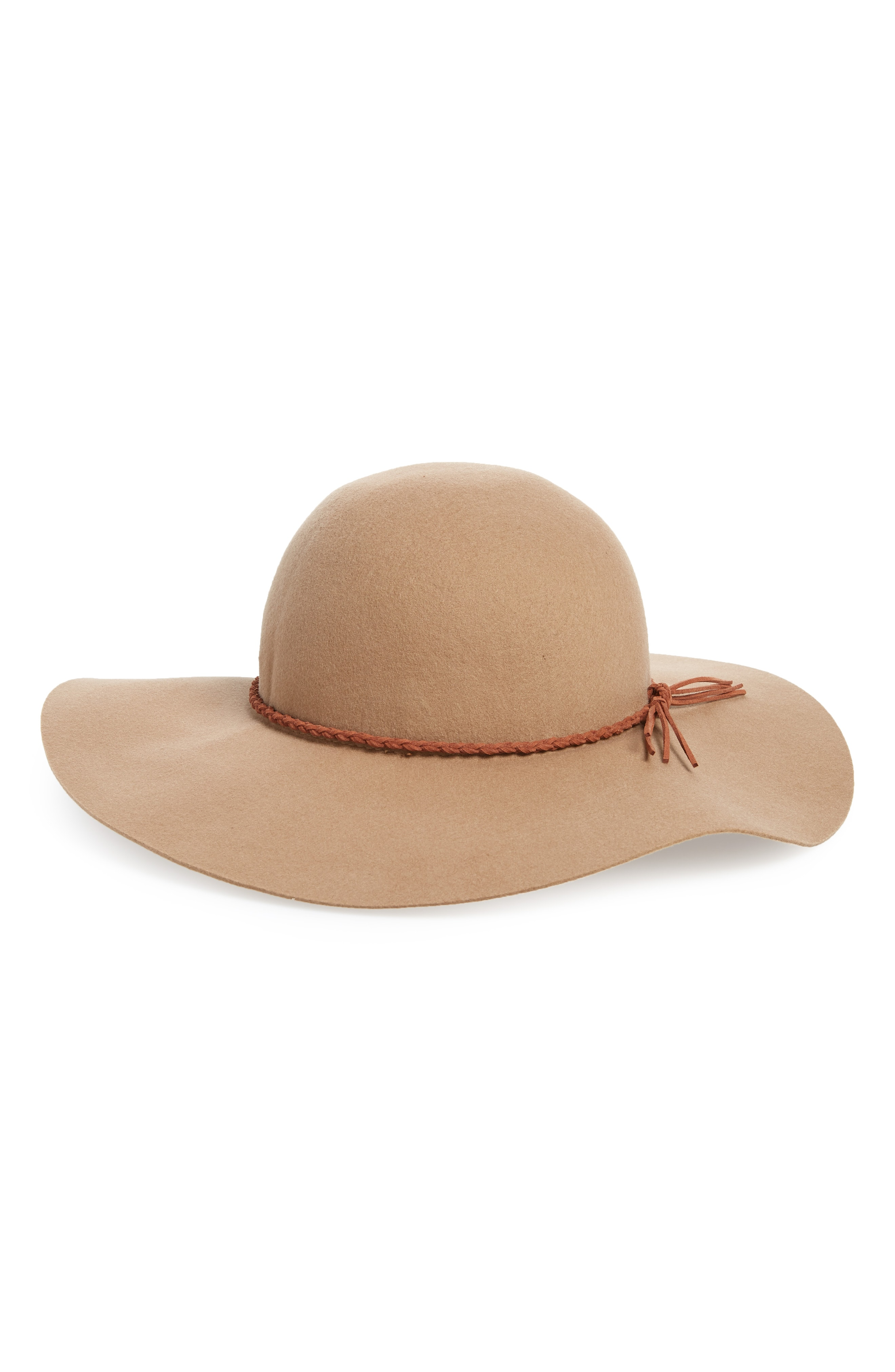 David & Young Faux Leather Trim Felt Floppy Hat