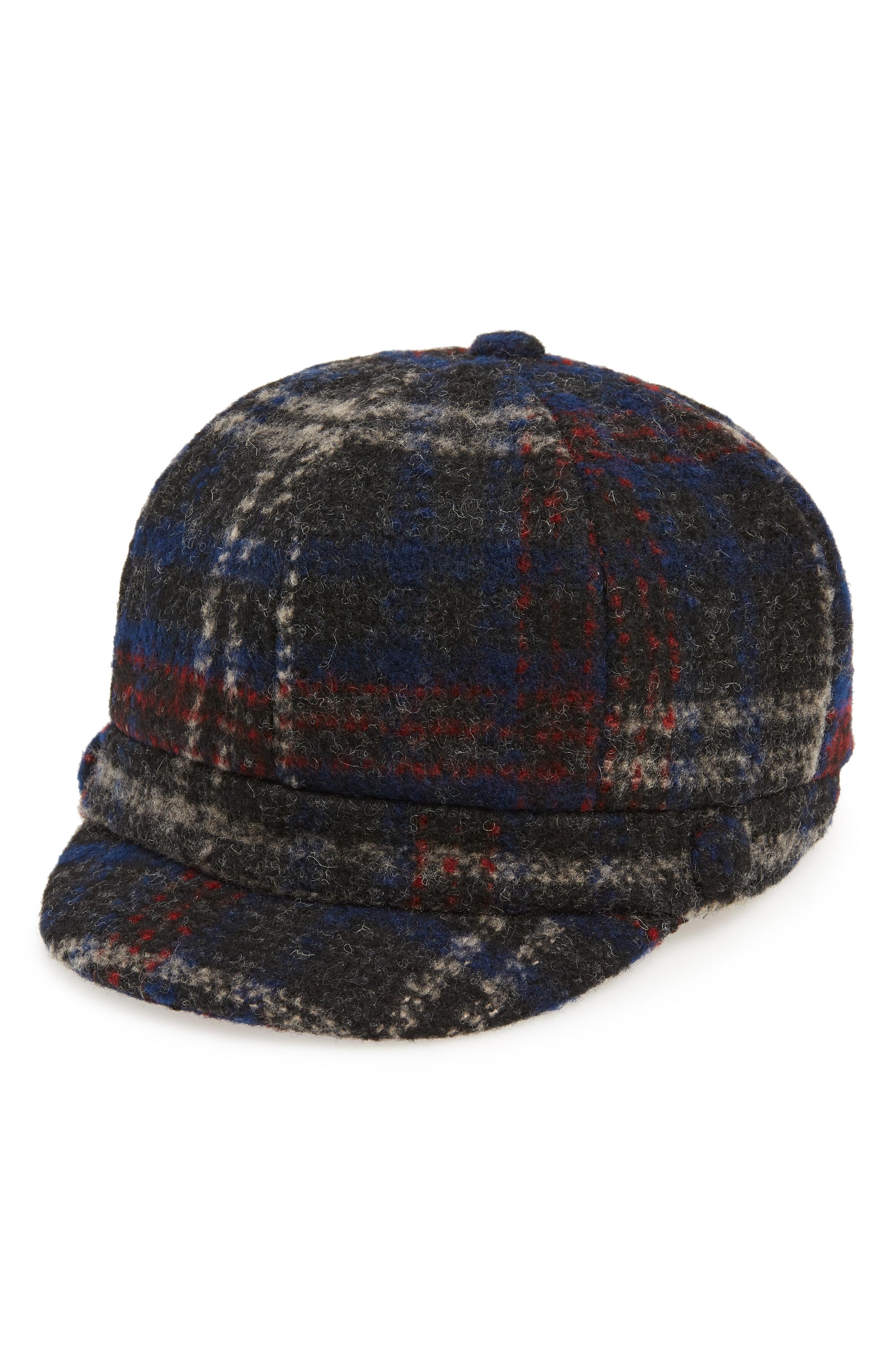 David & Young Plaid Baker Boy Hat
