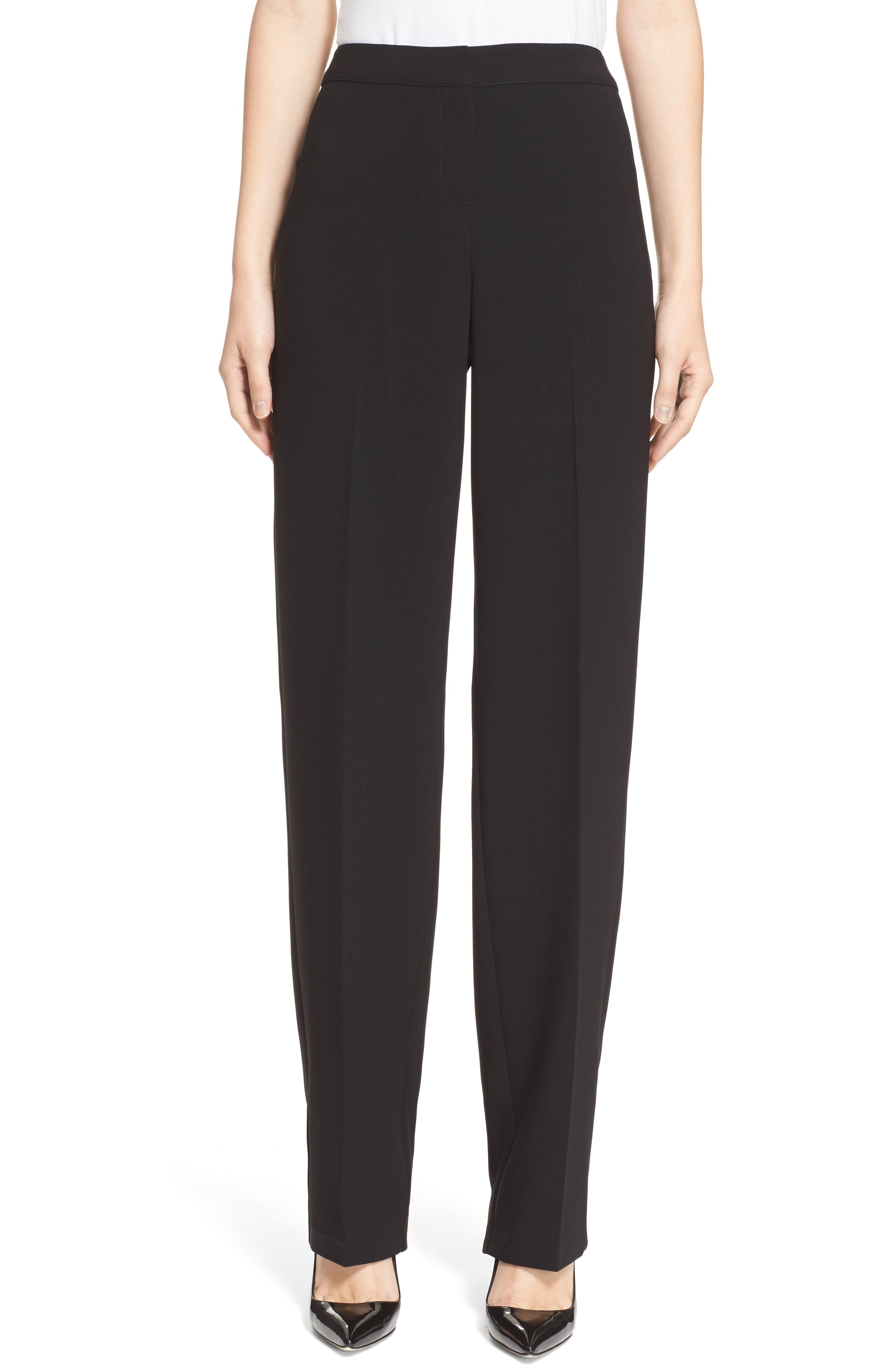 St. John Collection 'Diana' Straight Leg Crepe Marocain Pants