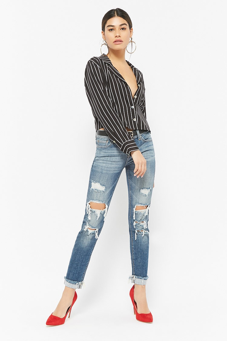 F21 Distressed Low-Rise Jeans