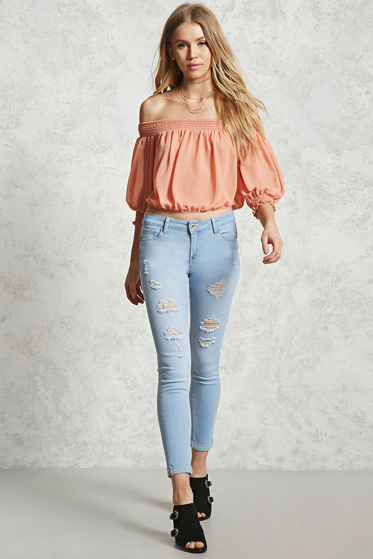 F21 Distressed Mid-Rise Jeans