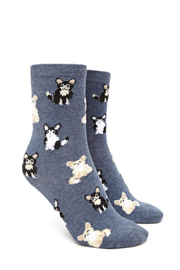 F21 Dog Print Crew Socks