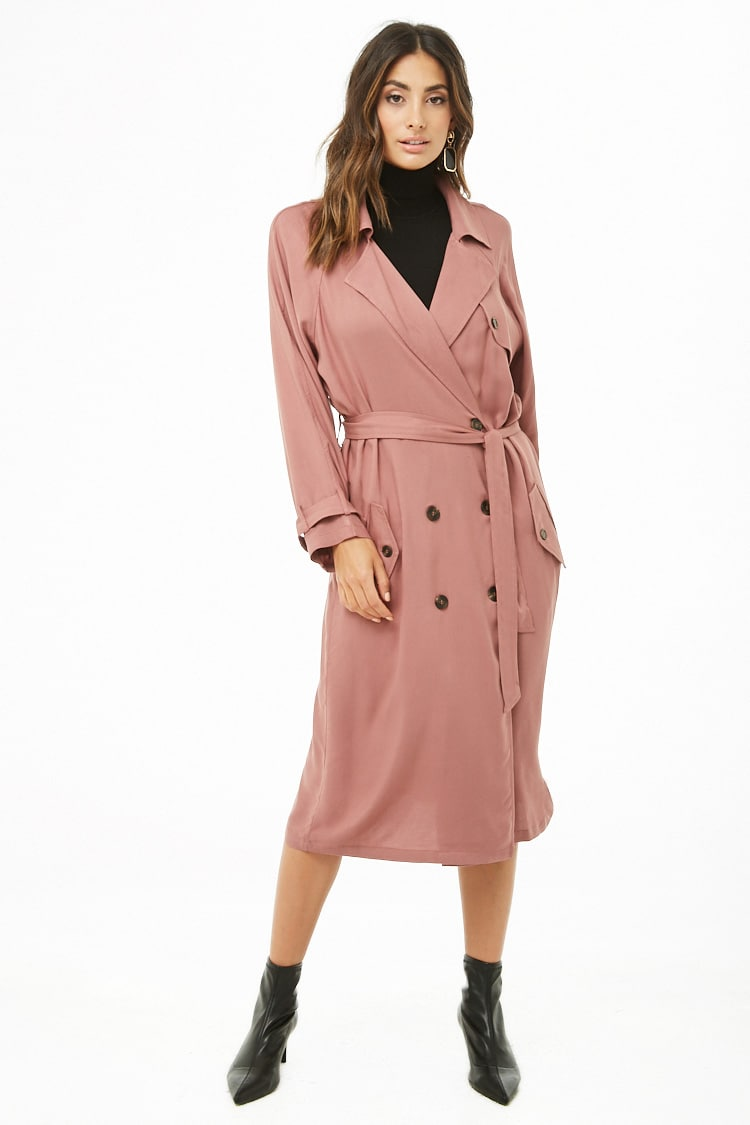 F21 Double-Breasted Trench Coat