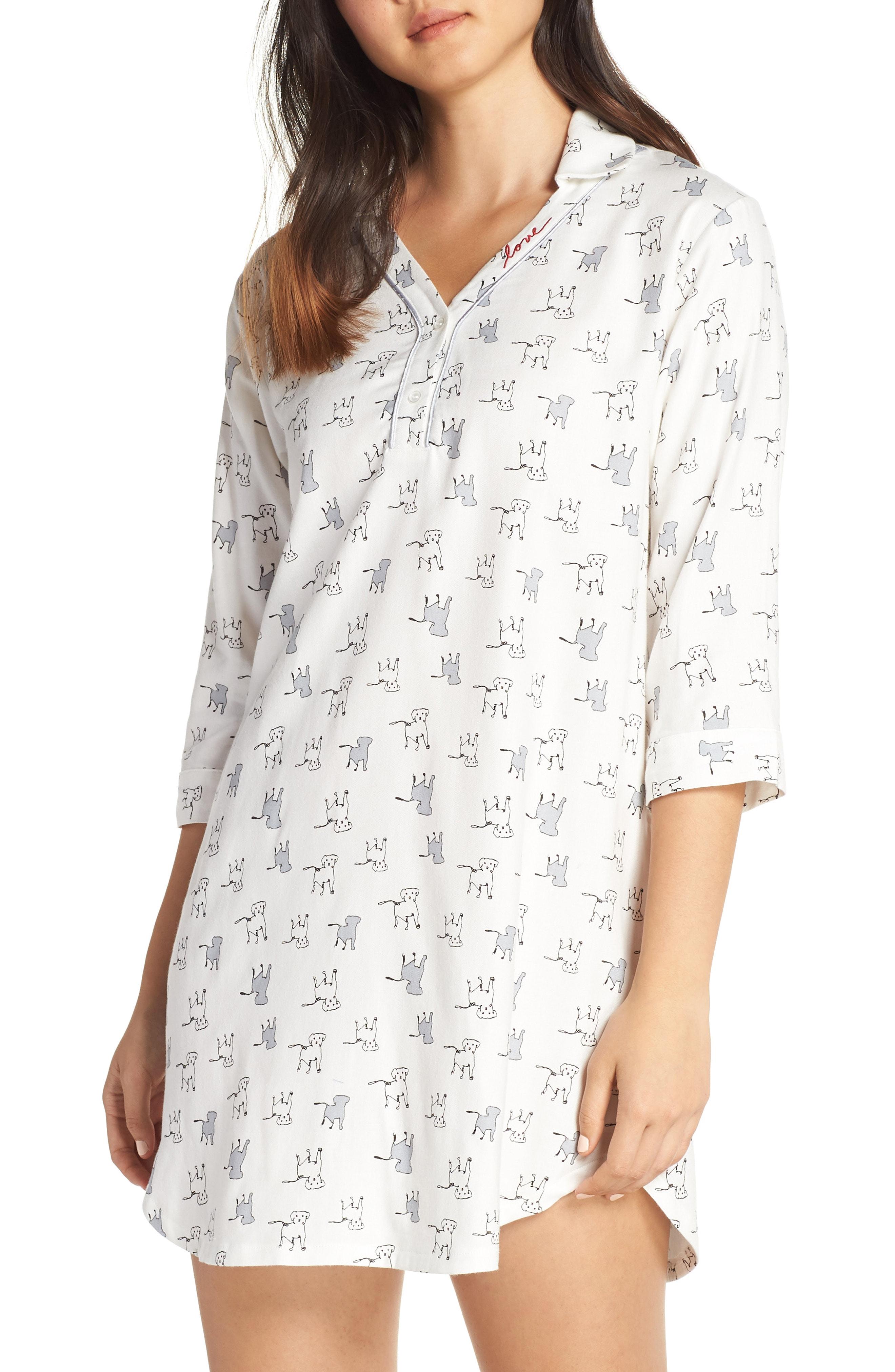 ED Ellen Degeneres Dog Print Flannel Nightshirt