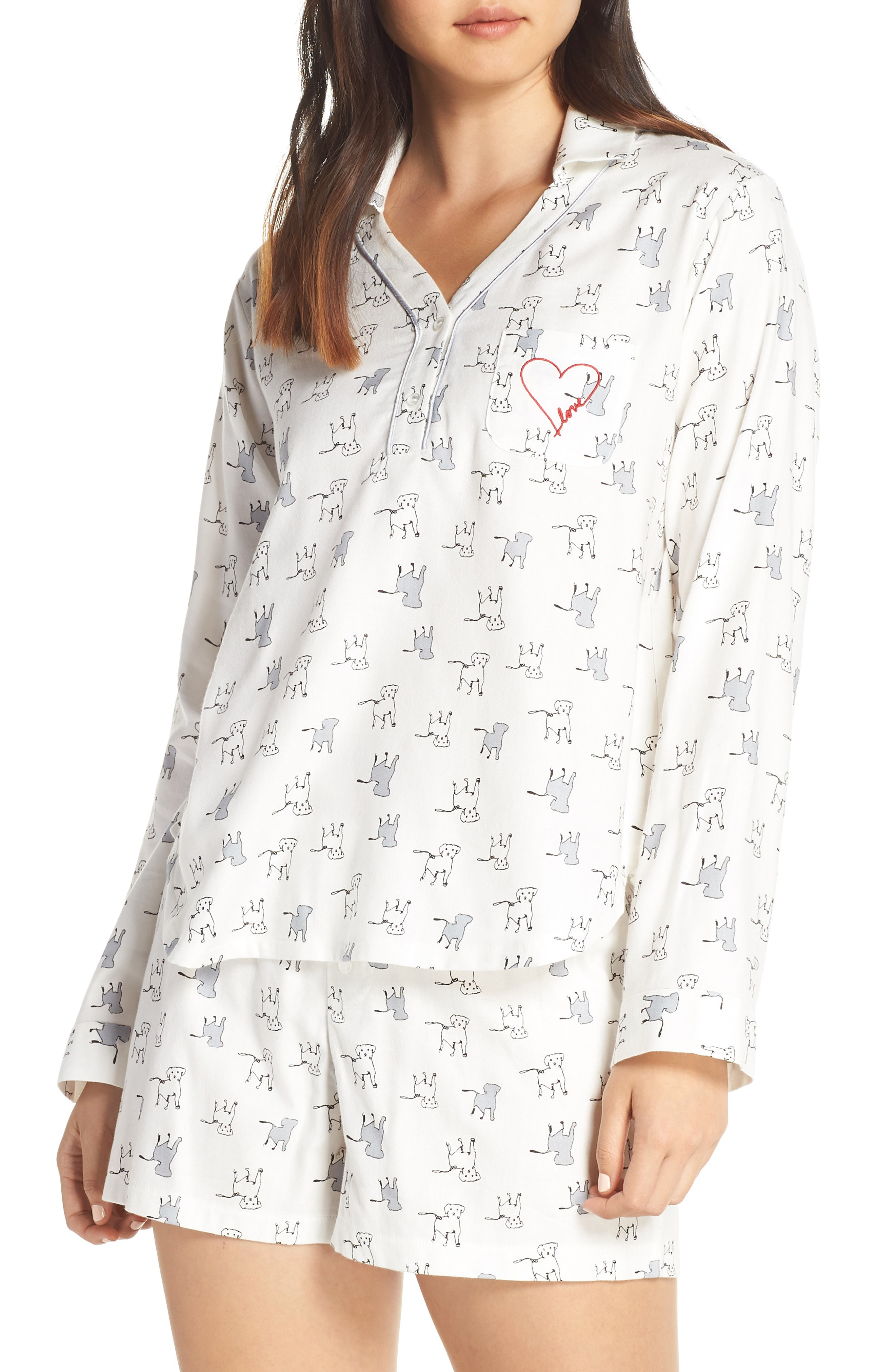 ED Ellen Degeneres Dog Print Shorty Flannel Pajamas