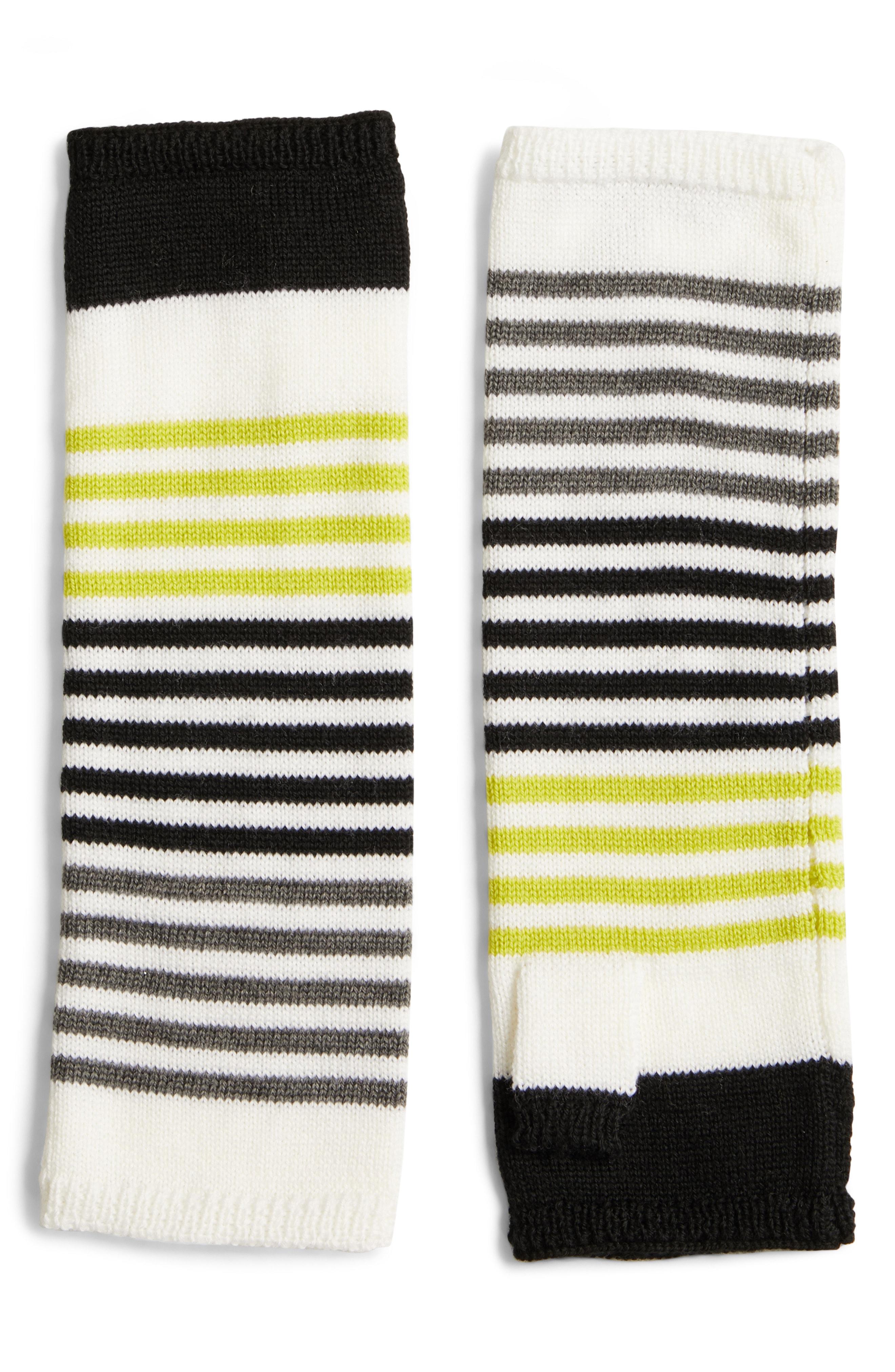 Eileen Fisher Stripe Merino Wool Fingerless Gloves