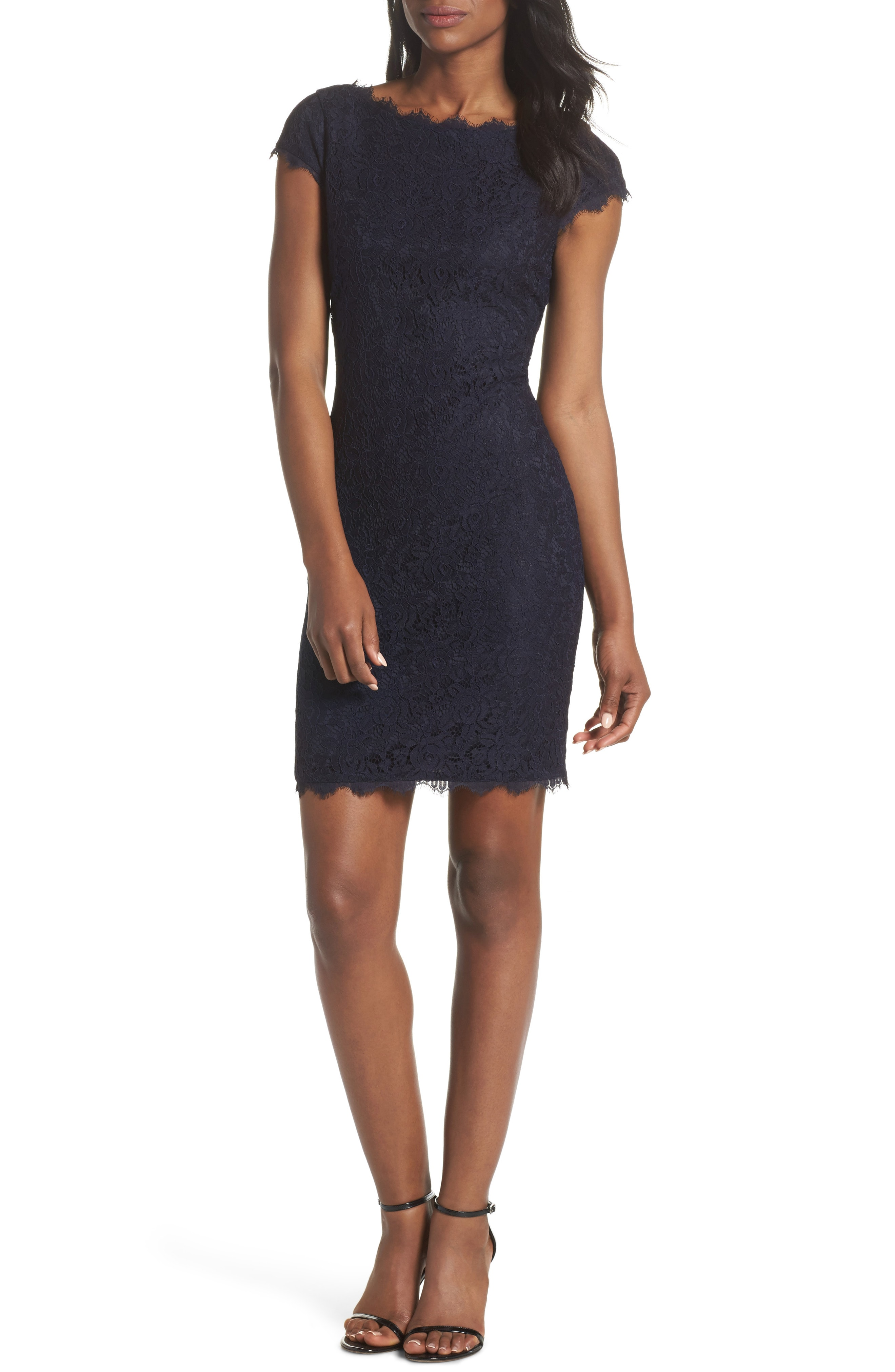 Eliza J Cap Sleeve Lace Sheath Dress (Regular & Petite)