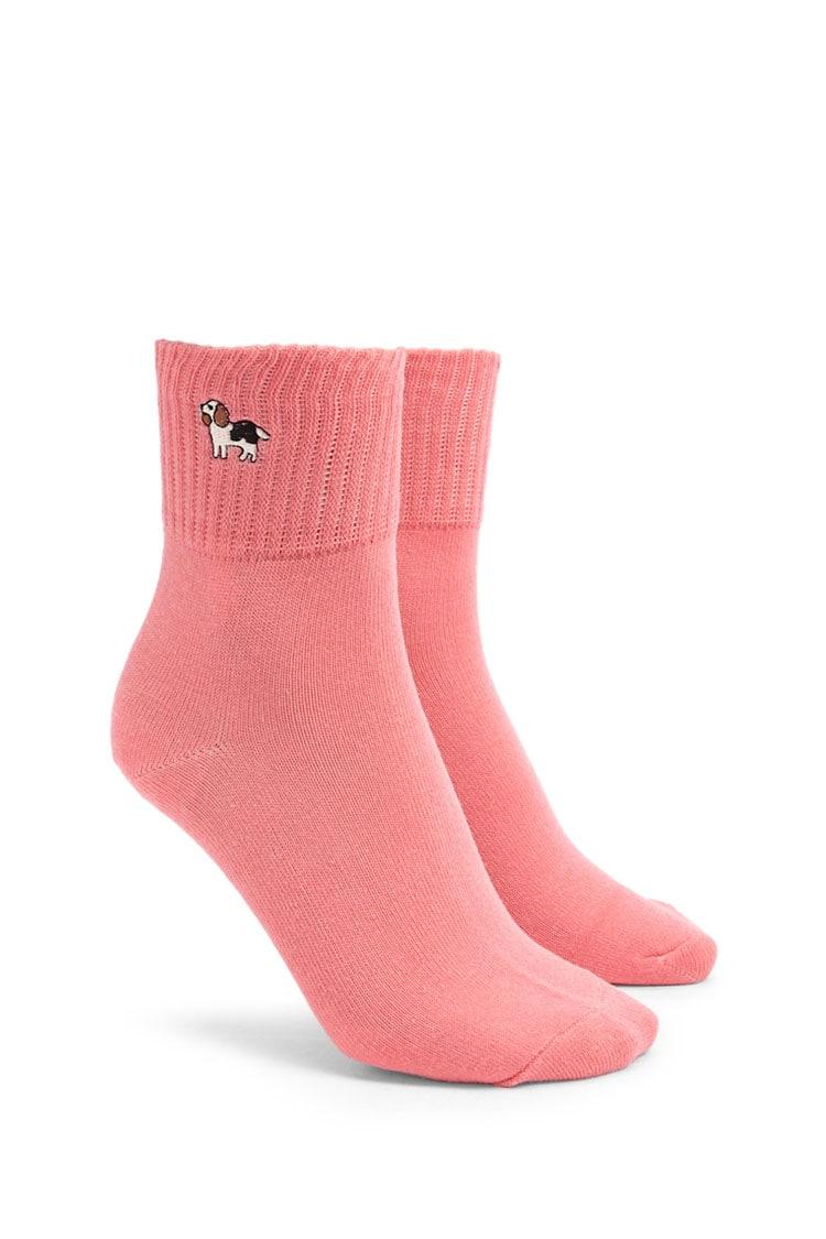 F21 Embroidered Dog Socks