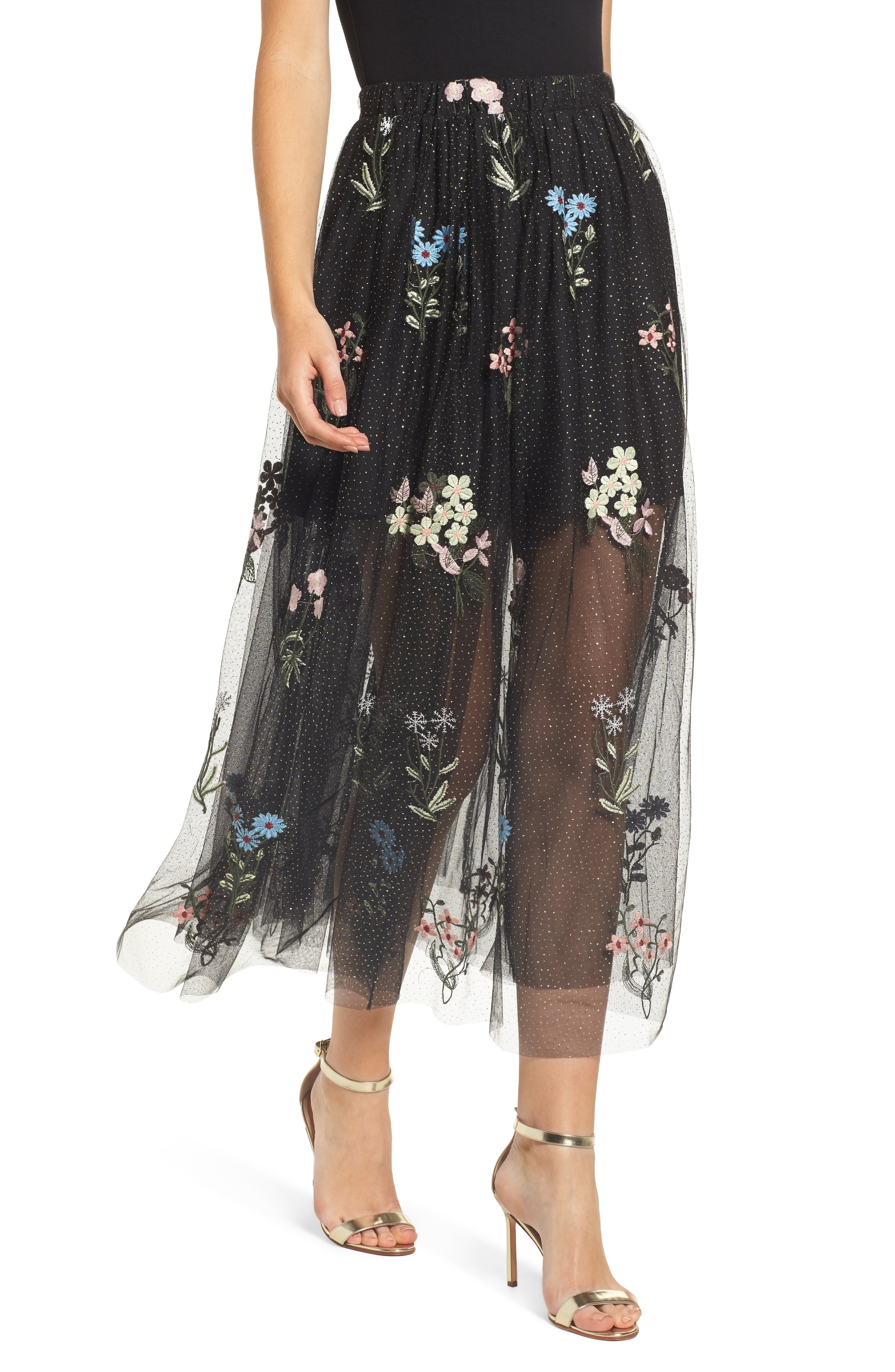 Endless Rose Embroidered Mesh Maxi Skirt
