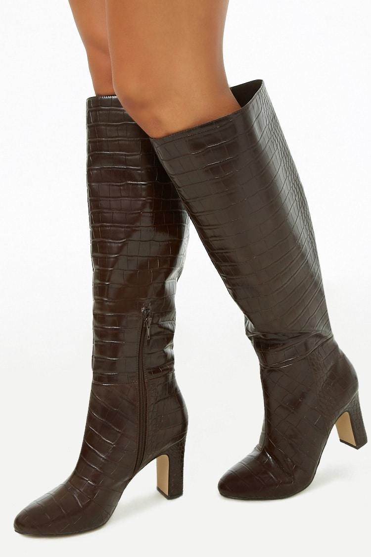 F21 Faux Croc Over-The-Knee Boots