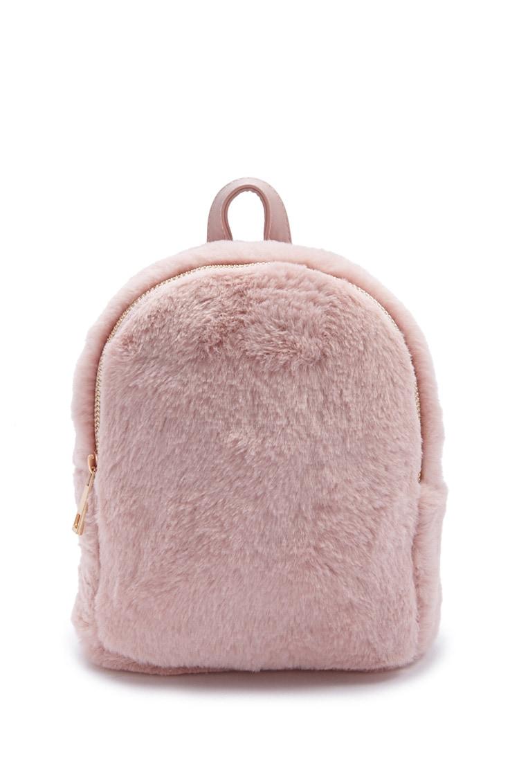 F21 Faux Fur Mini Backpack