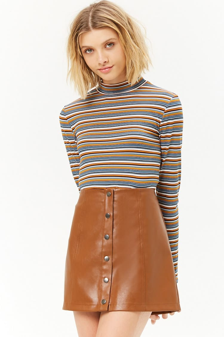F21 Faux Leather Button-Front Mini Skirt